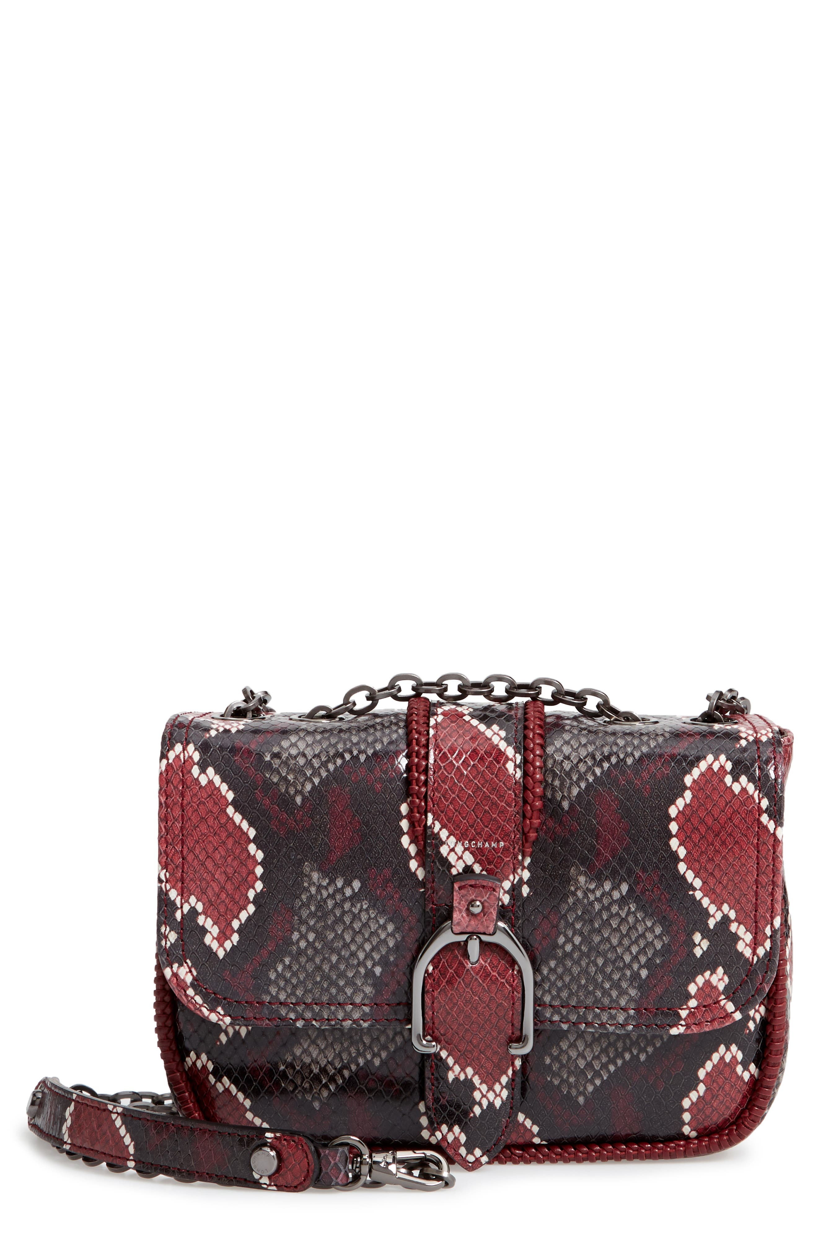 Amazone Mini Convertible Python-Embossed Leather Shoulder Bag in Burgundy