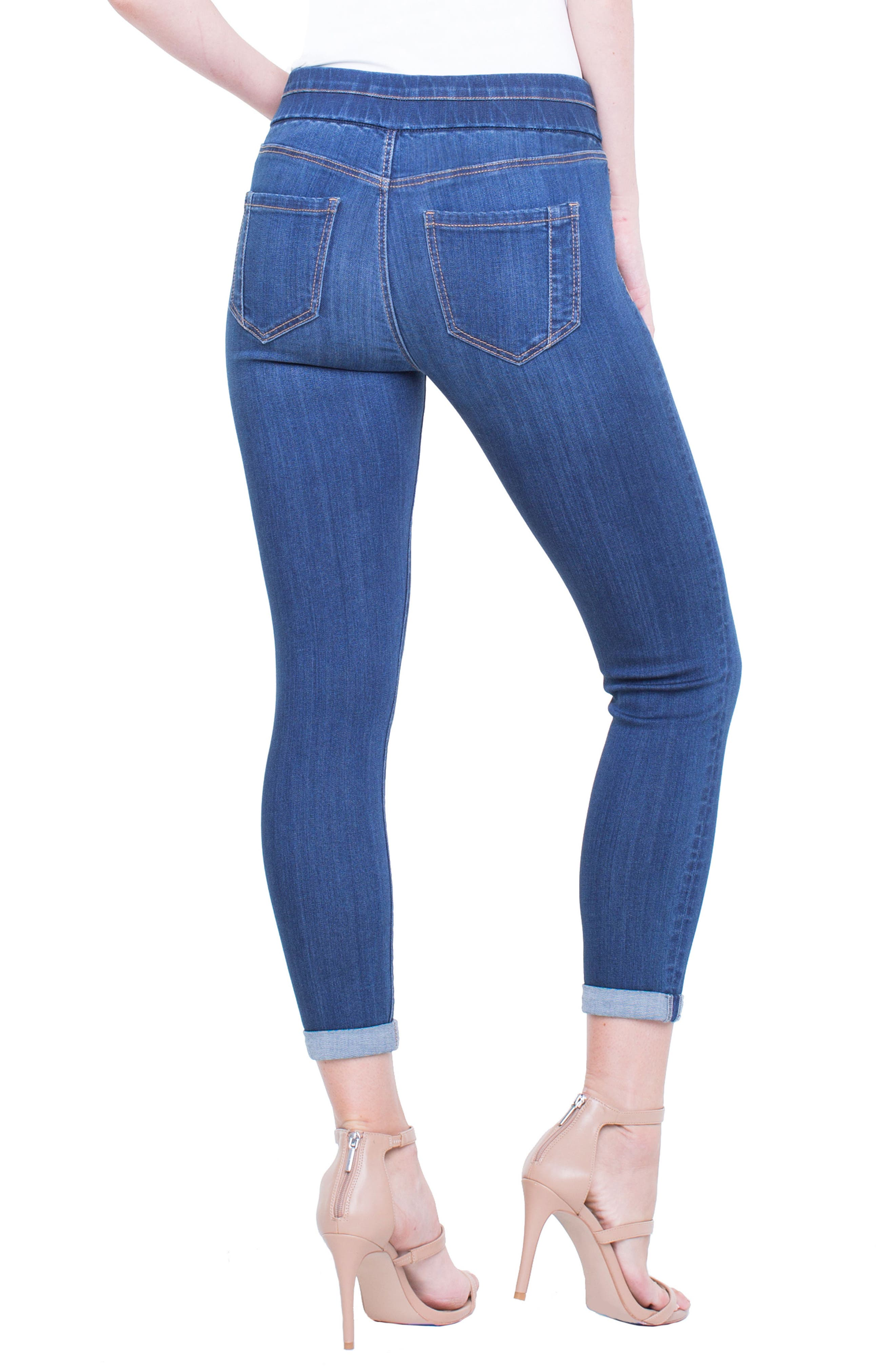 Zoe Pull-On Rolled Cuff Crop Jeans,                             Alternate thumbnail 2, color,                             403