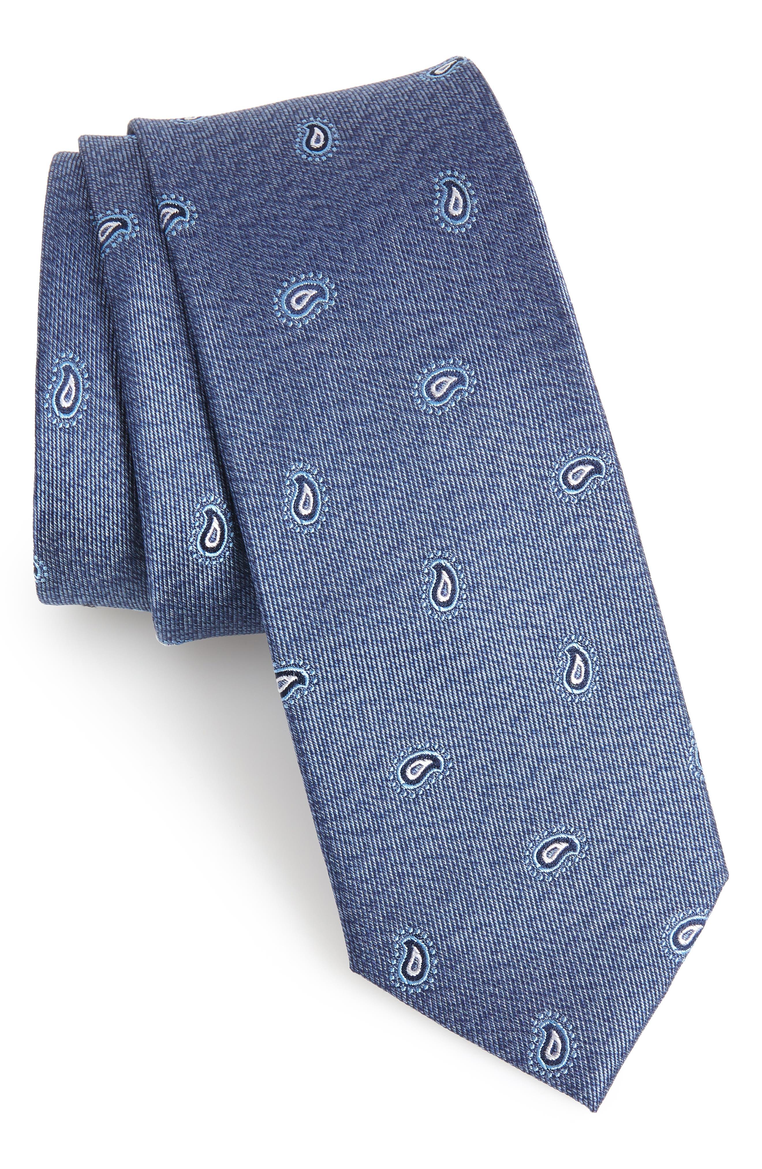 Barby Paisley Silk Tie,                         Main,                         color, BLUE