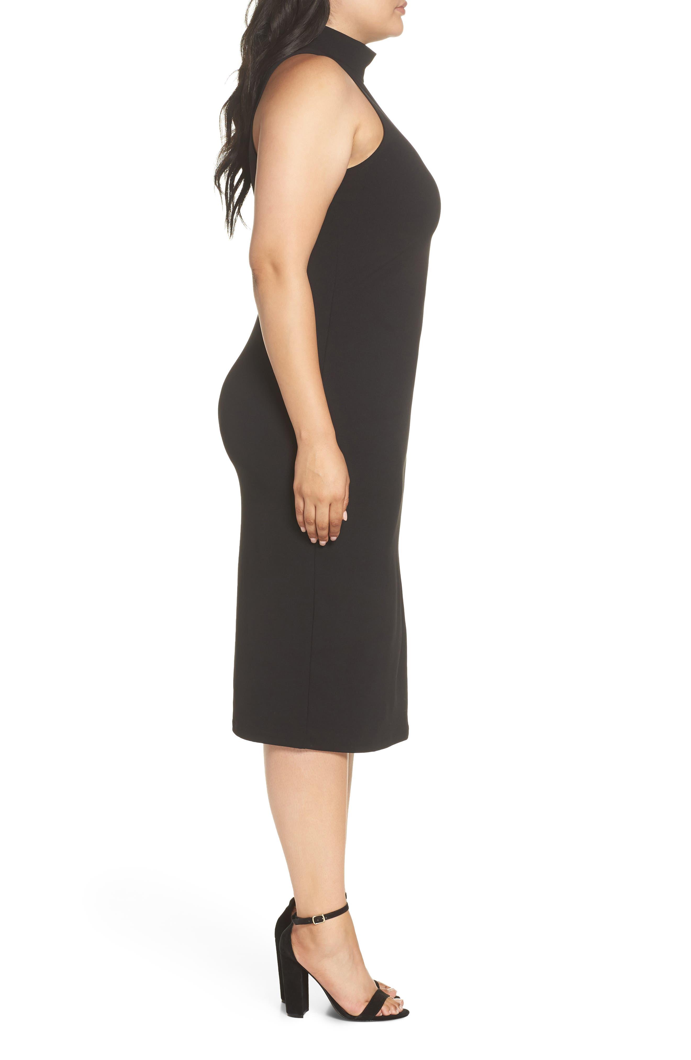 Mock Neck Body-Con Dress,                             Alternate thumbnail 10, color,                             BLACK