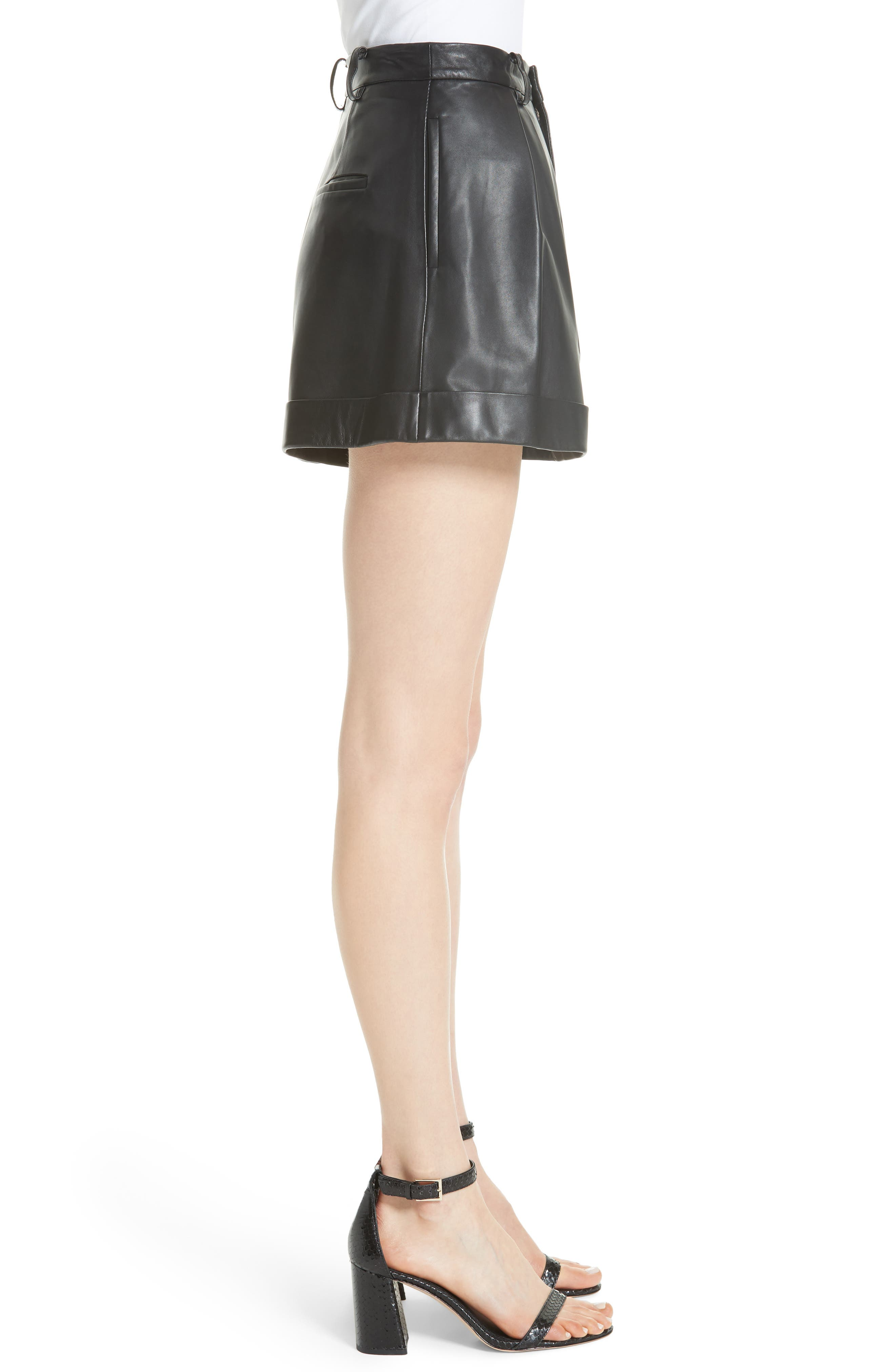 Conry Leather Pleated Cuff Shorts,                             Alternate thumbnail 3, color,                             BLACK