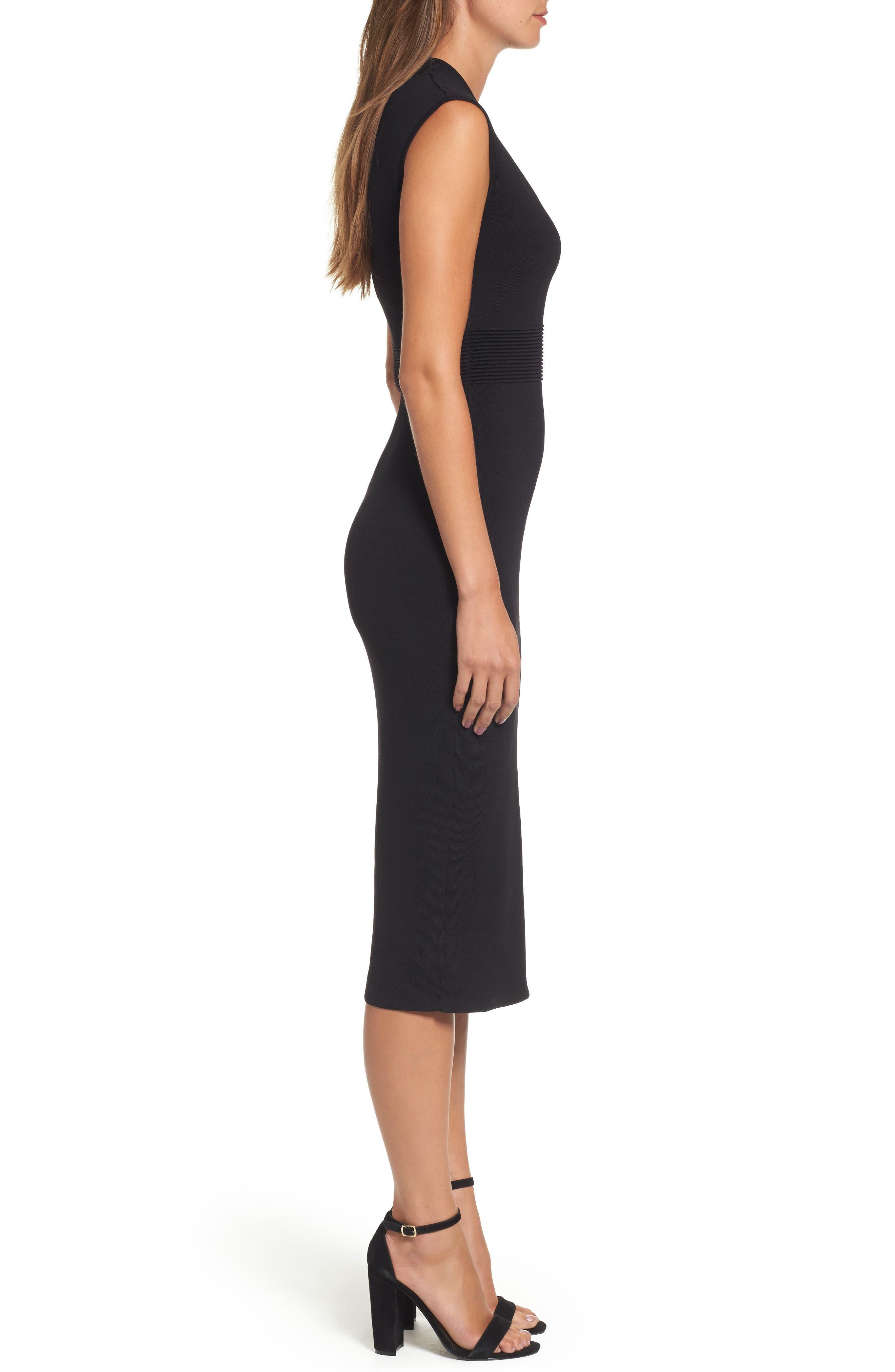 Rib Waist Knit Midi Dress,                             Alternate thumbnail 3, color,                             BLACK