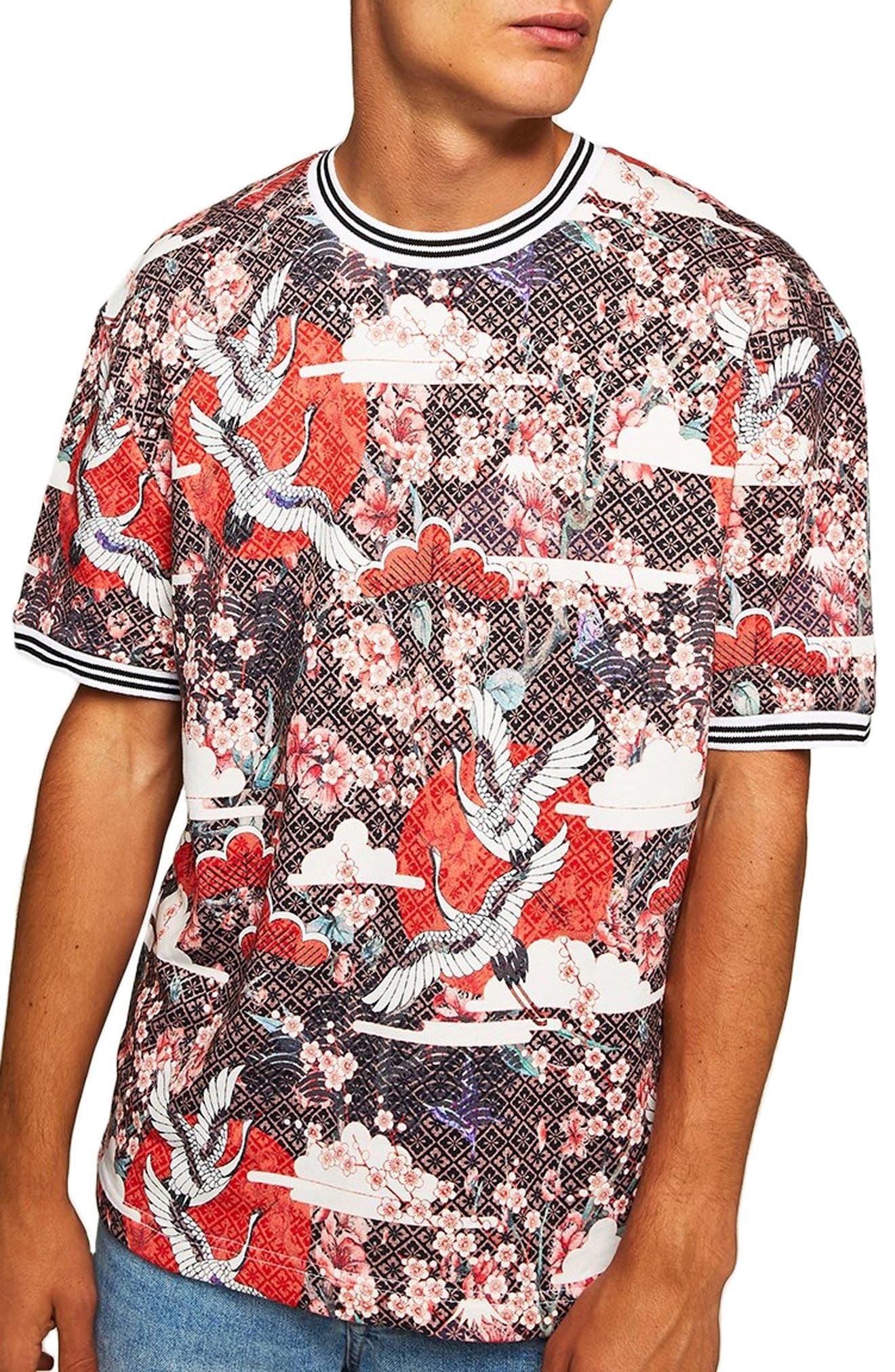 Topman Japanese Tile Print Short Sleeve Sweatshirt, Red