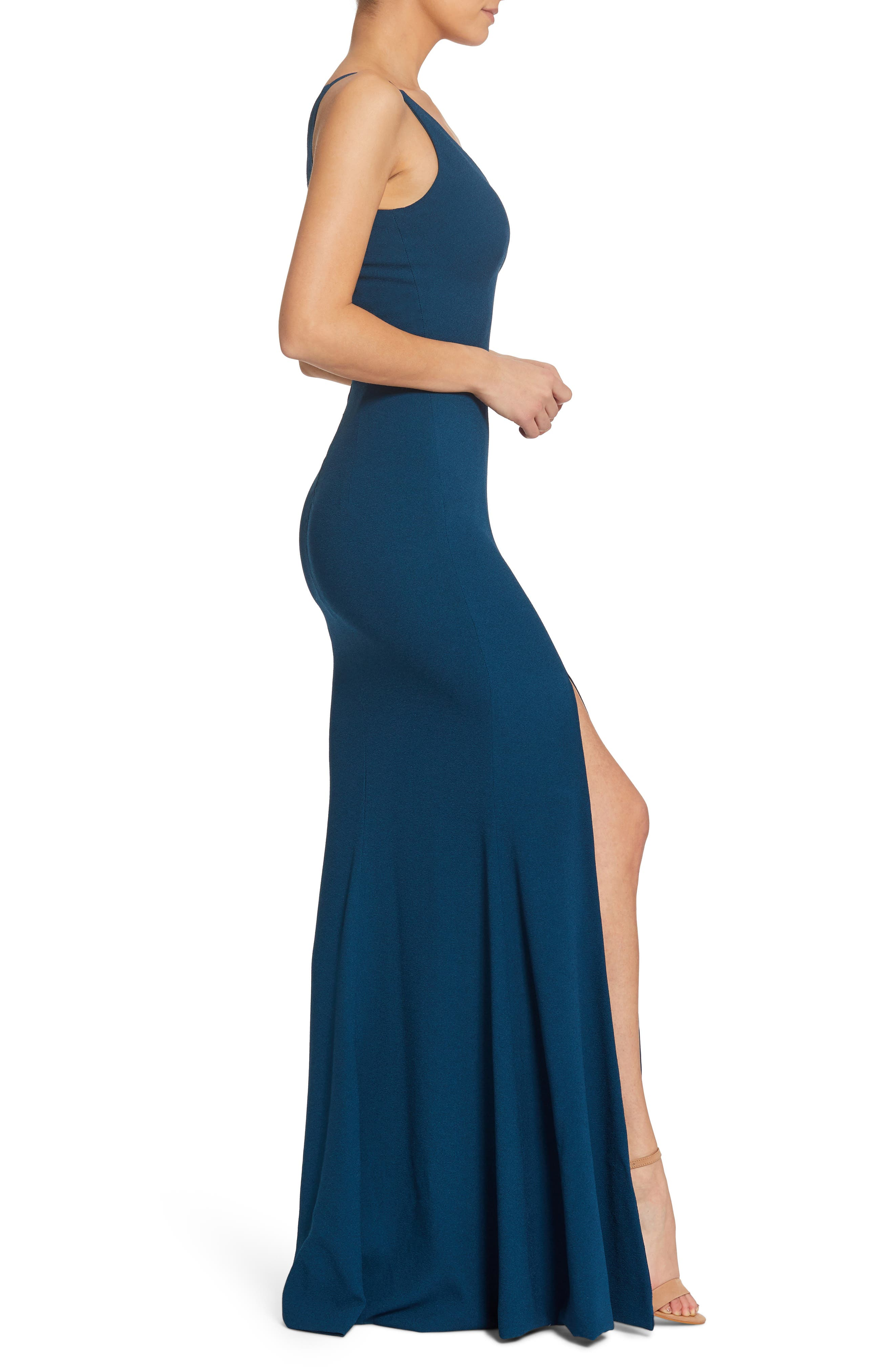 Iris Slit Crepe Gown,                             Alternate thumbnail 3, color,                             PEACOCK BLUE