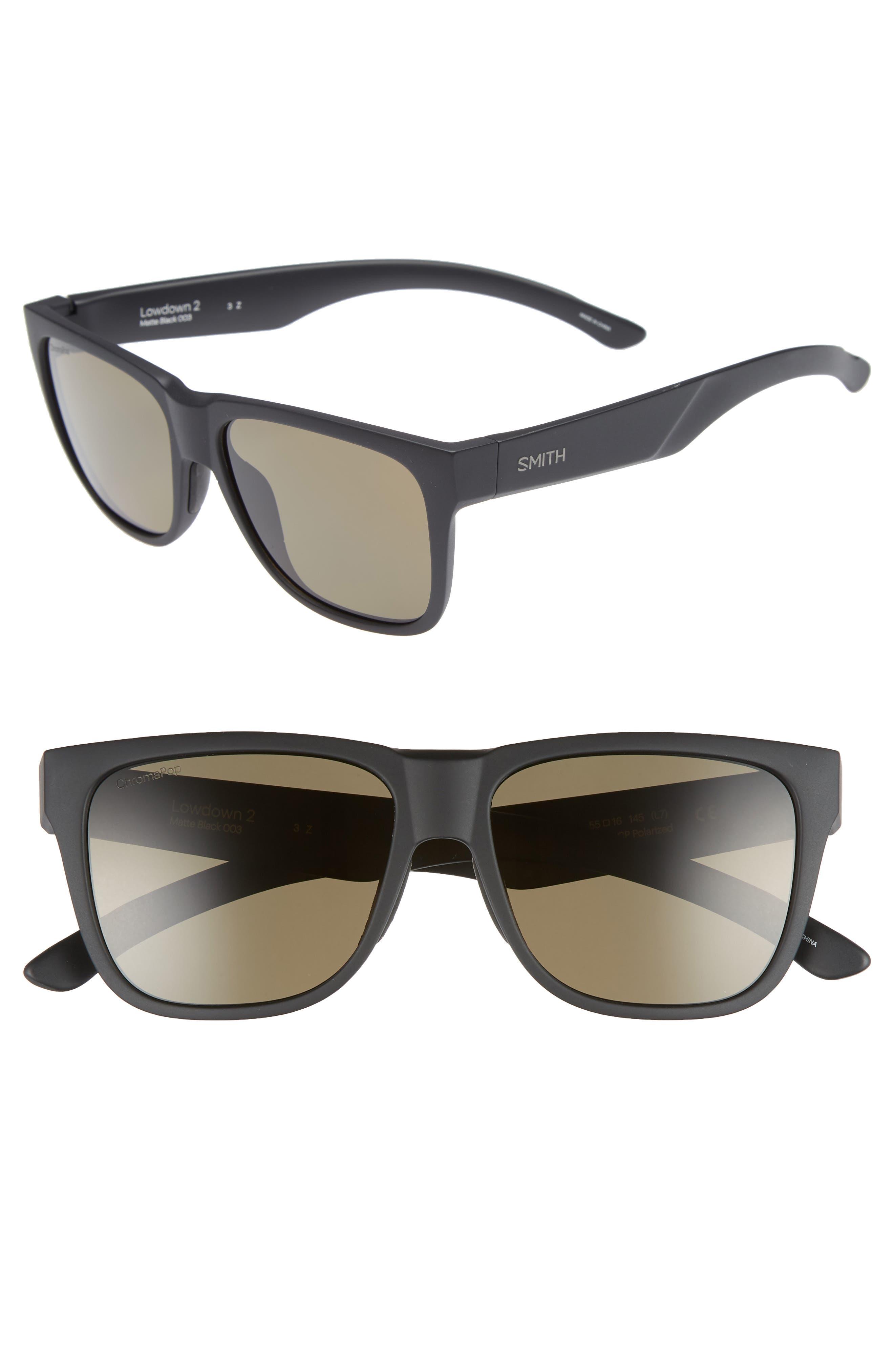 Lowdown 2 55mm ChromaPop<sup>™</sup> Polarized Sunglasses,                             Main thumbnail 1, color,                             MATTE BLACK/ GREY GREEN
