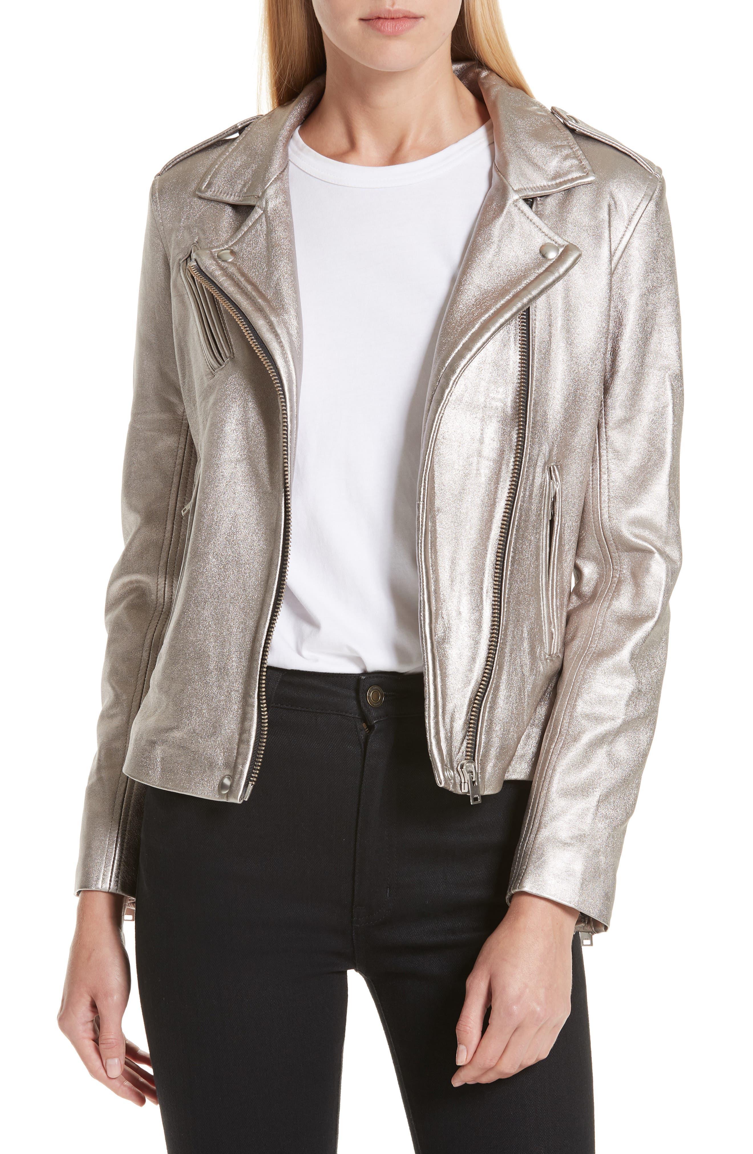 IRO Han Leather Zip-Front Moto Jacket in Golden Brown