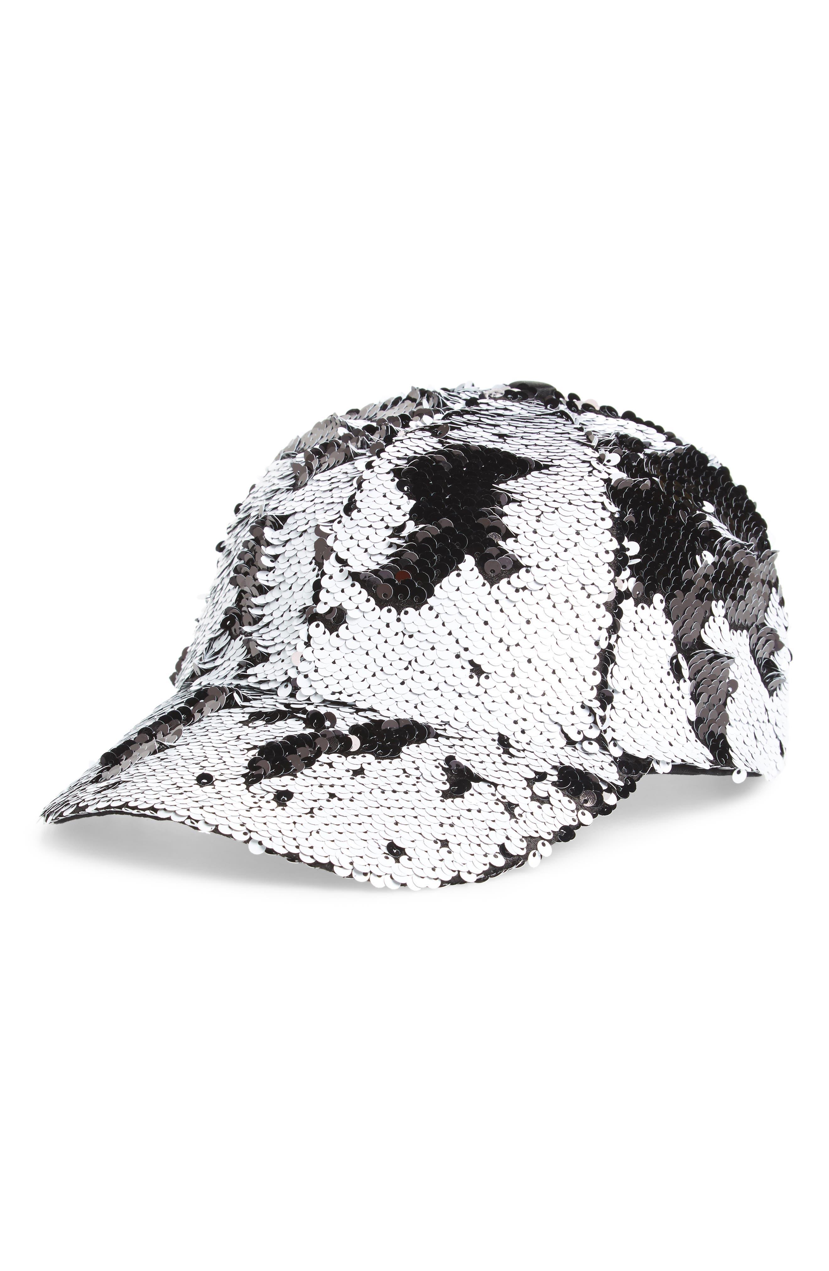 Sequin Baseball Cap,                             Main thumbnail 1, color,                             018
