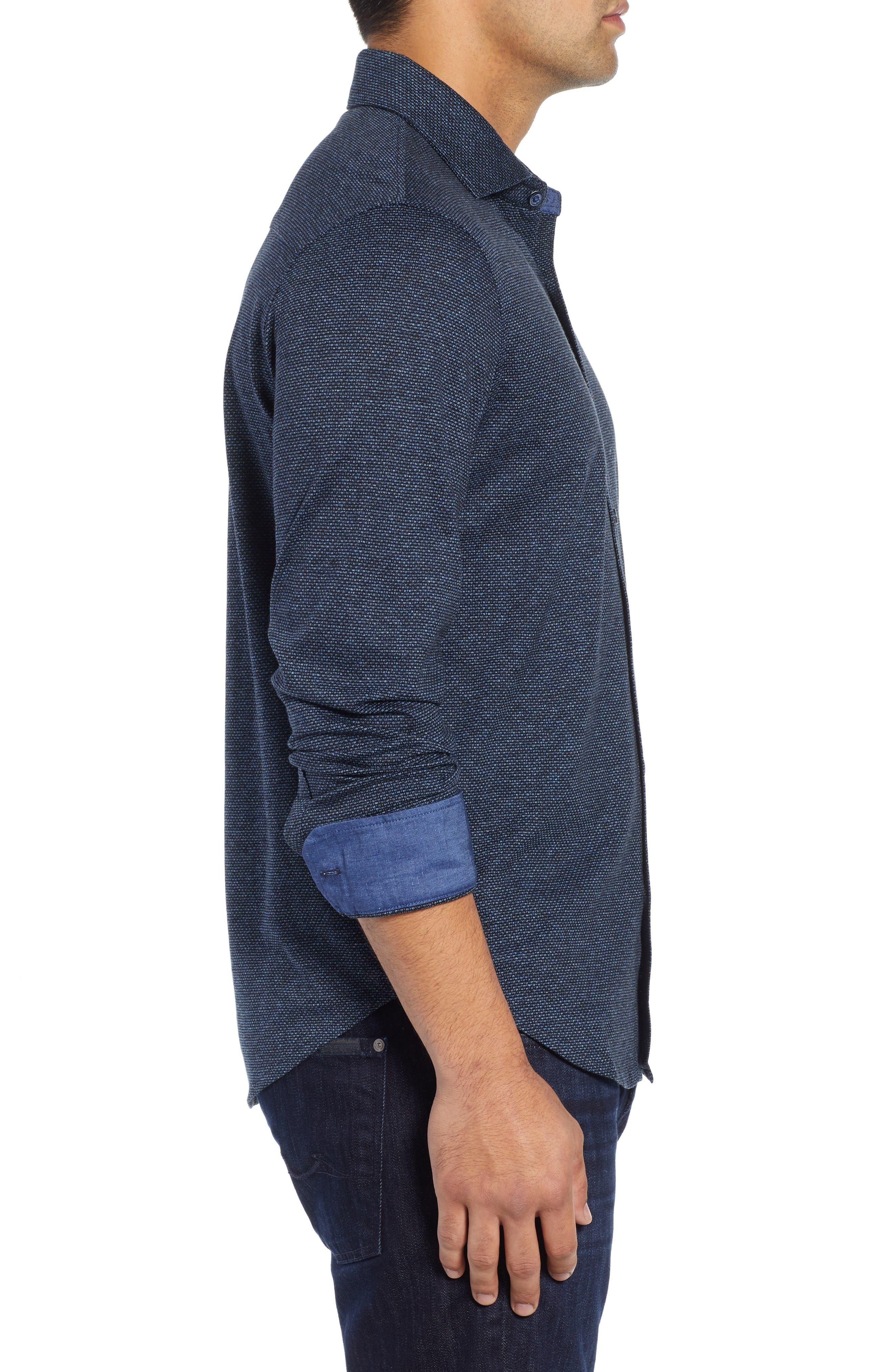 Shaped Fit Knit Sport Shirt,                             Alternate thumbnail 4, color,                             CHARCOAL