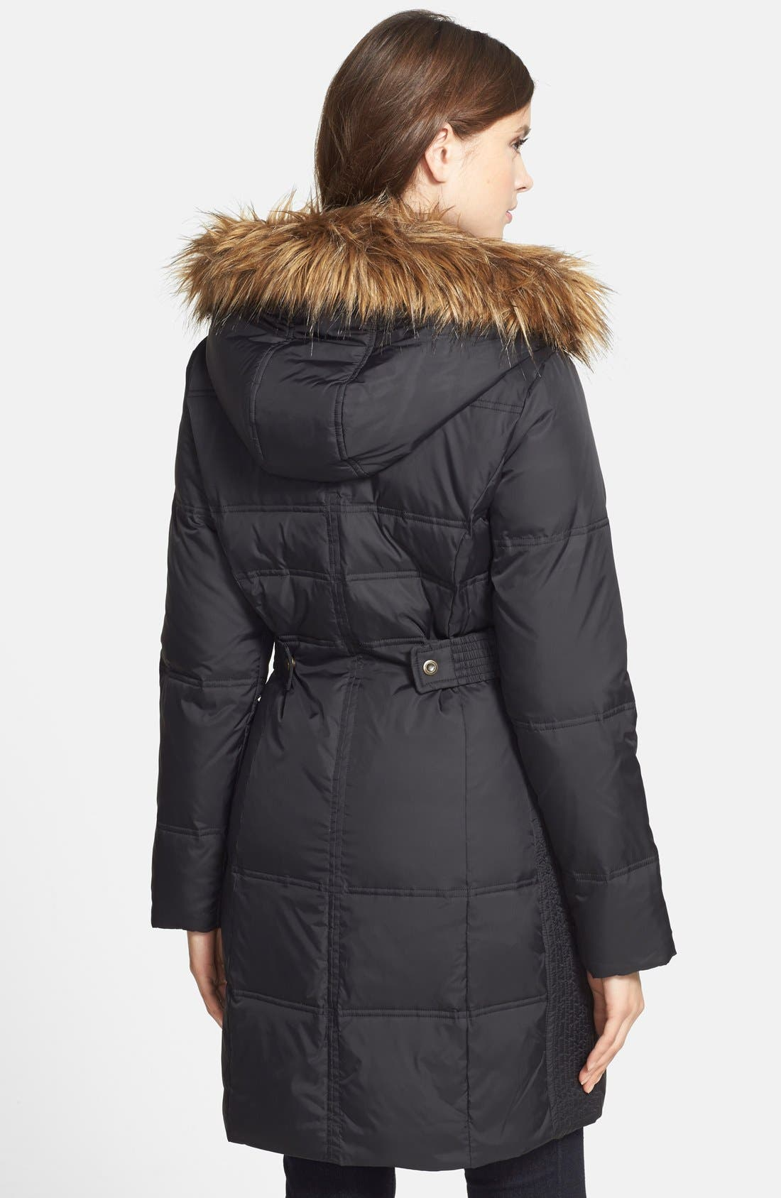 Faux Fur Trim Quilted Coat with Removable Hood,                             Alternate thumbnail 3, color,                             001