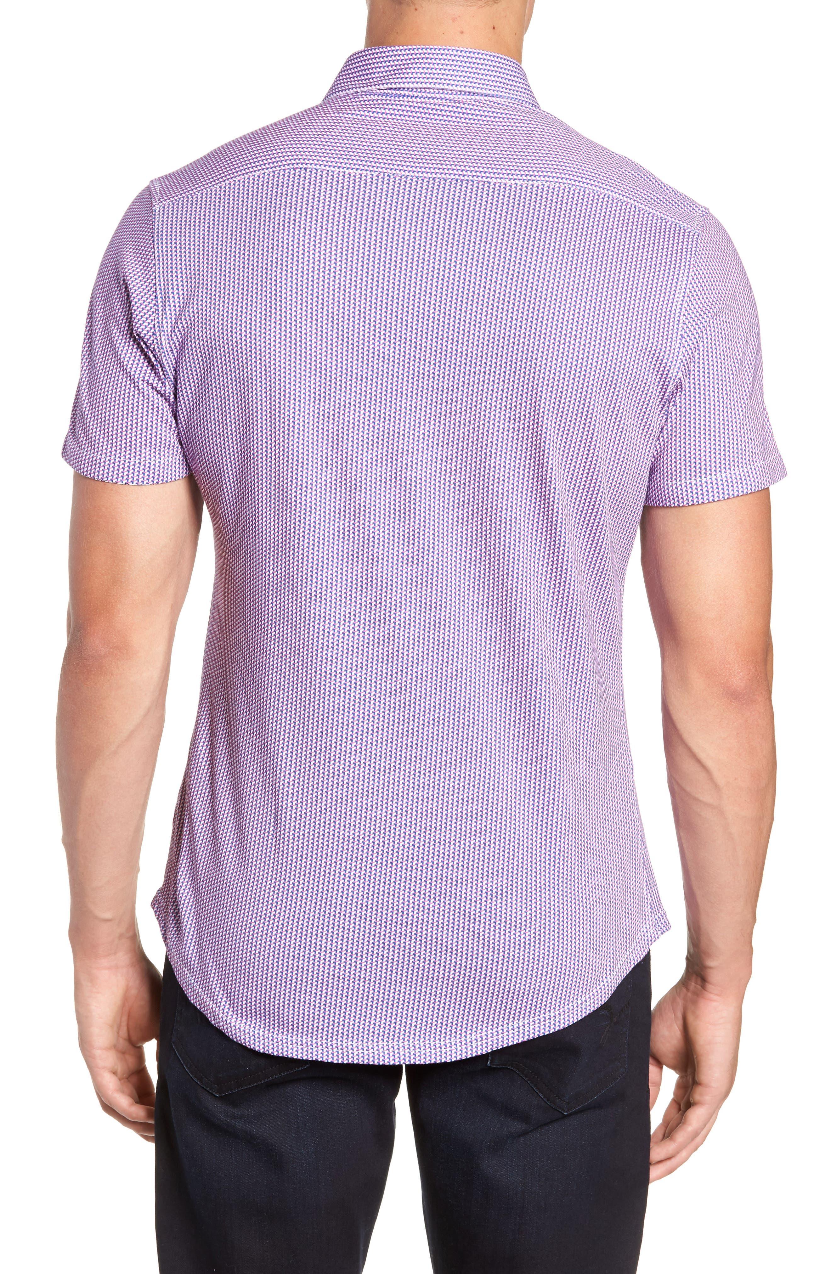 Regular Fit Geometric Print Knit Sport Shirt,                             Alternate thumbnail 3, color,                             650