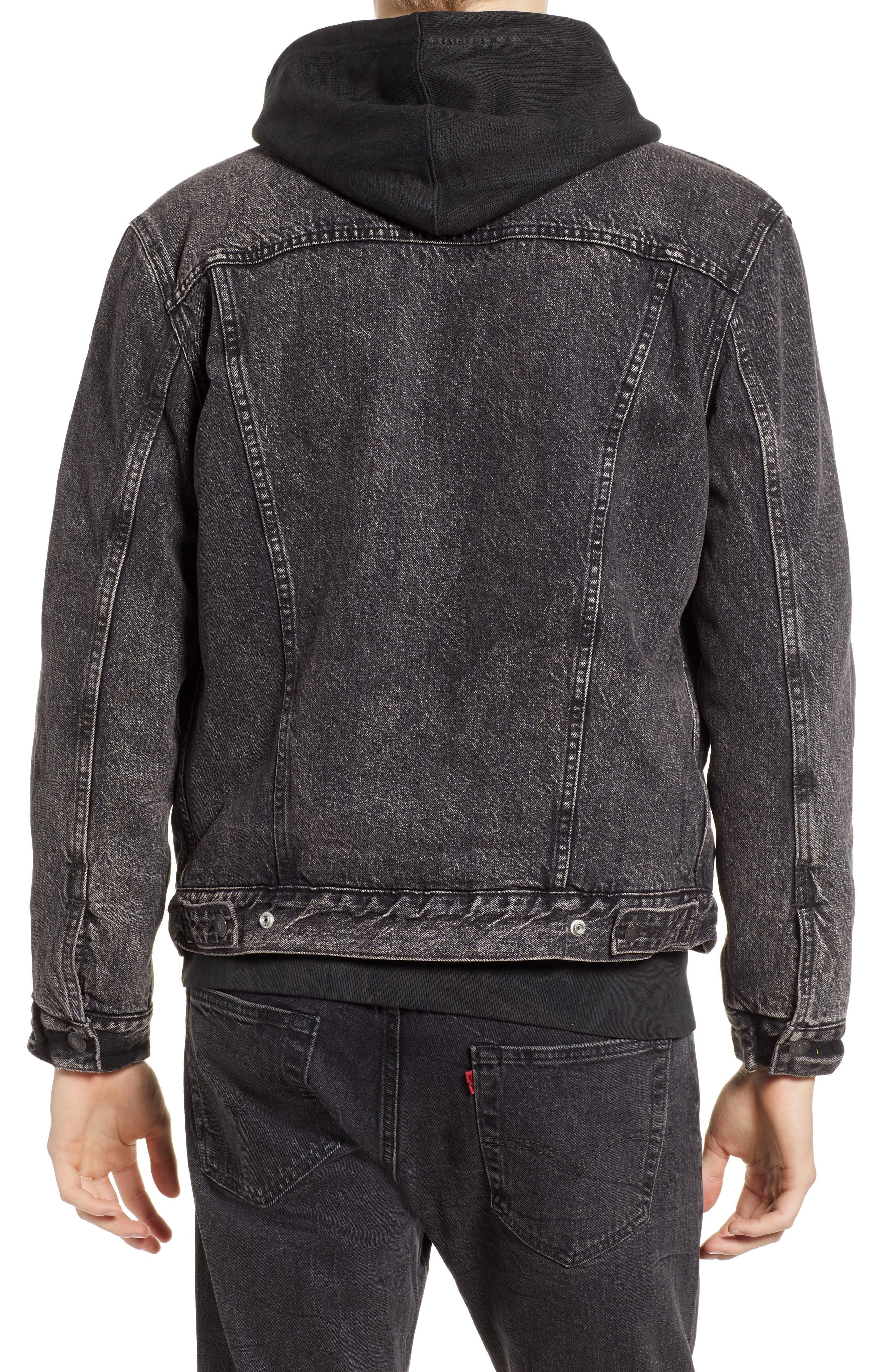 x Justin Timberlake Faux Shearling Collar Trucker Jacket,                             Alternate thumbnail 3, color,                             BRUSTED