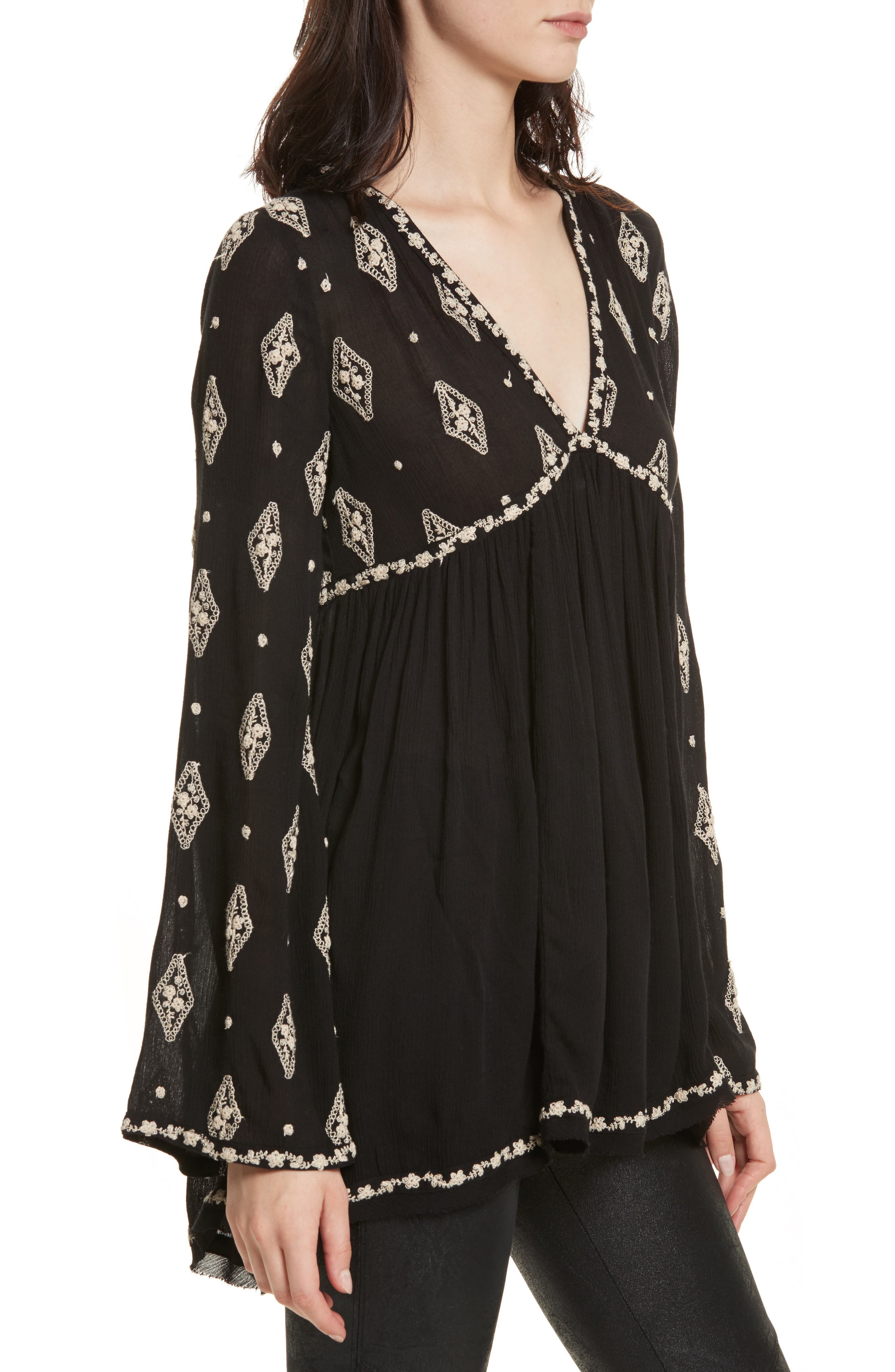 Embroidered Bell Sleeve Top,                             Alternate thumbnail 14, color,
