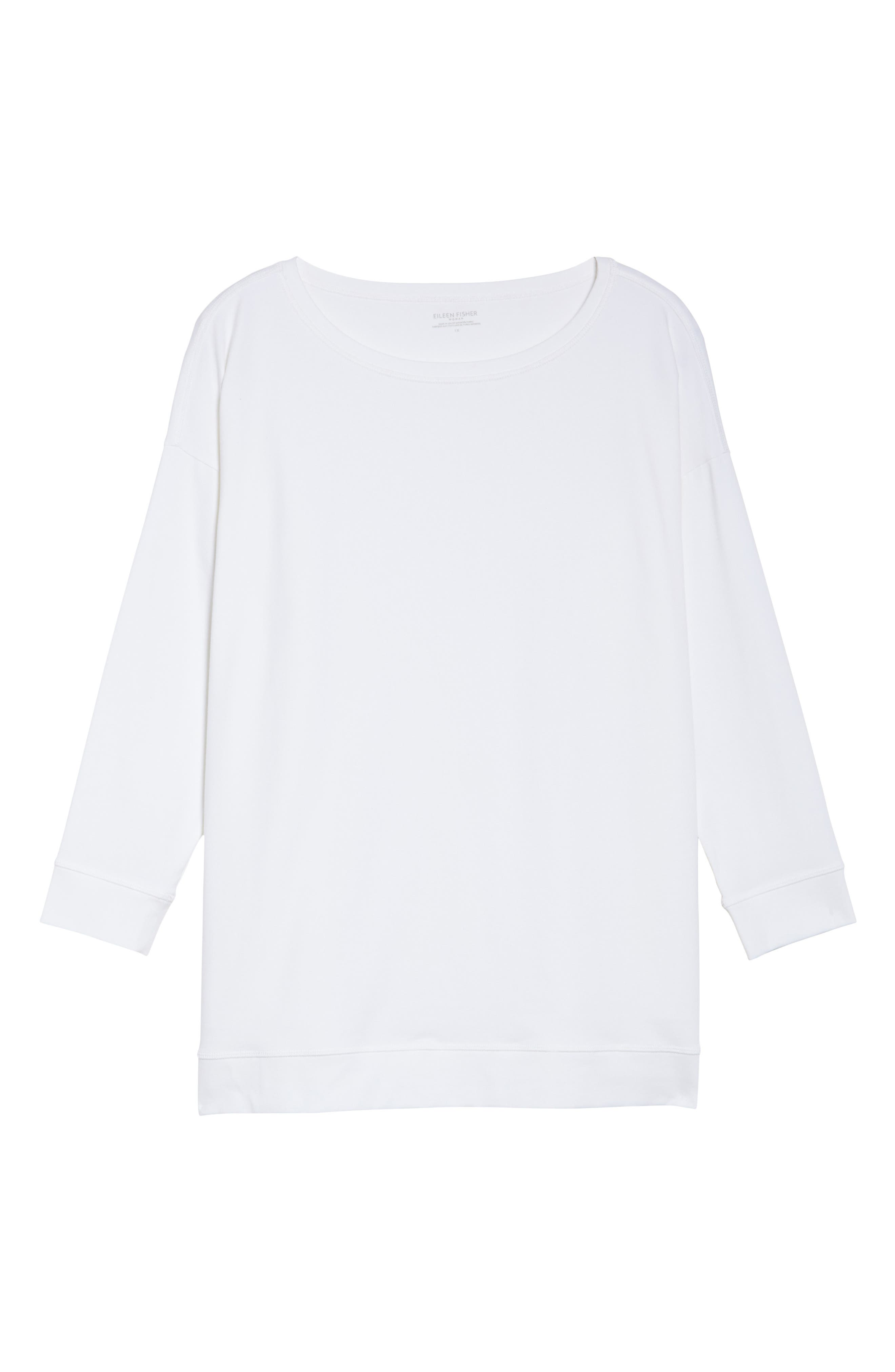 Jewel Neck Organic Stretch Cotton Tee,                             Alternate thumbnail 6, color,                             100