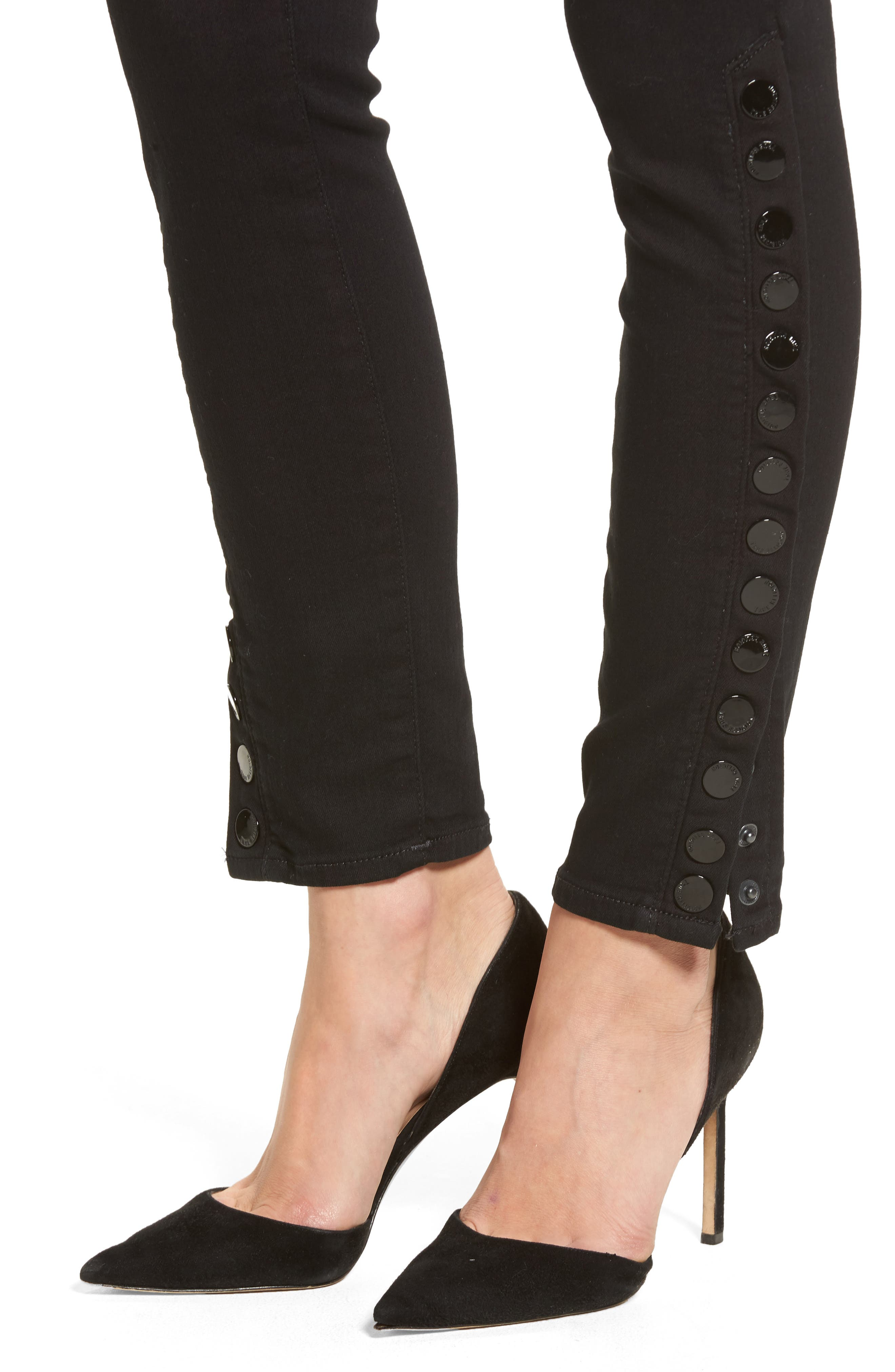 Halle Snap Ankle Super Skinny Jeans,                             Alternate thumbnail 4, color,                             001
