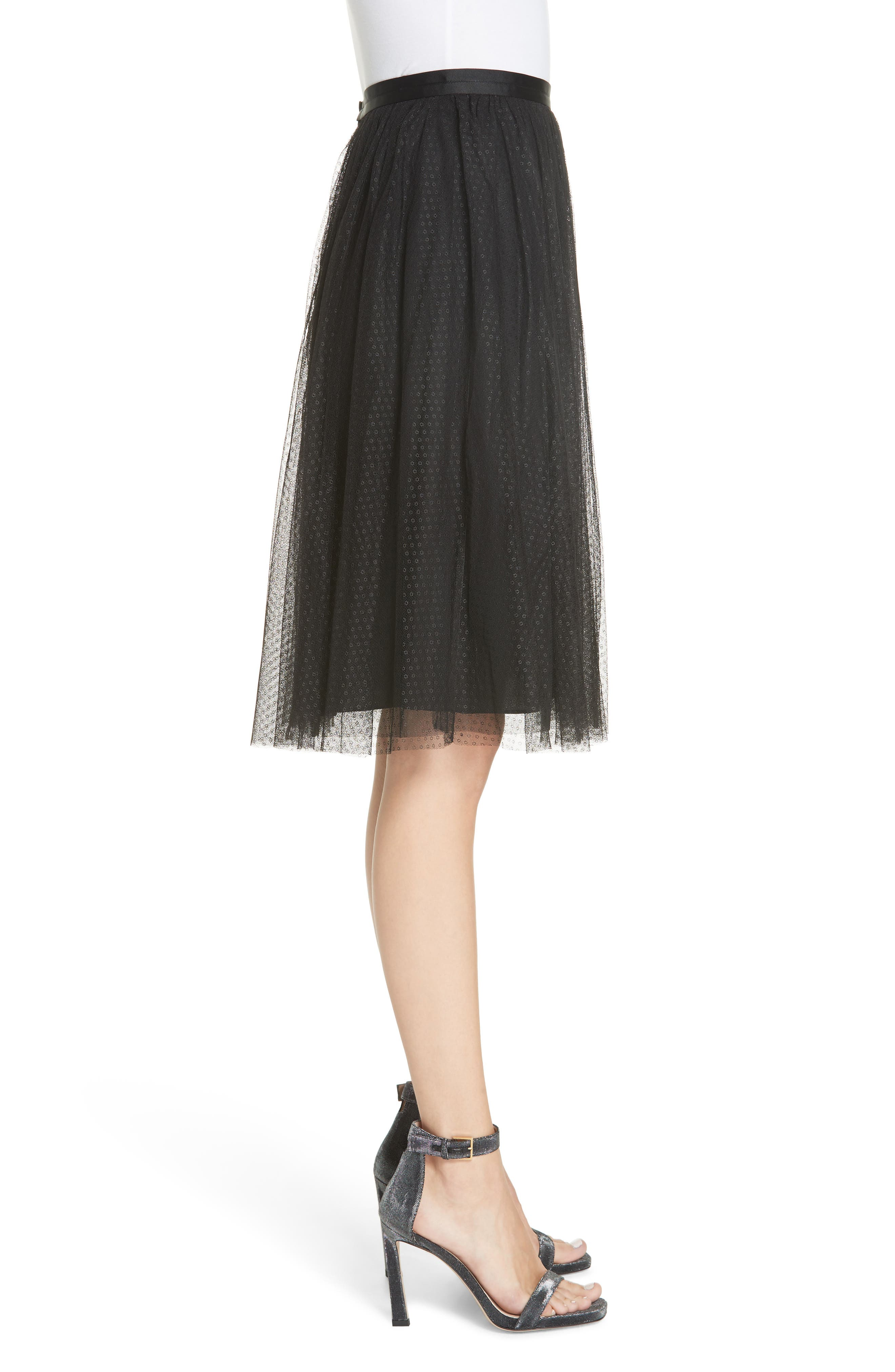 Dotted Tulle Skirt,                             Alternate thumbnail 3, color,                             001