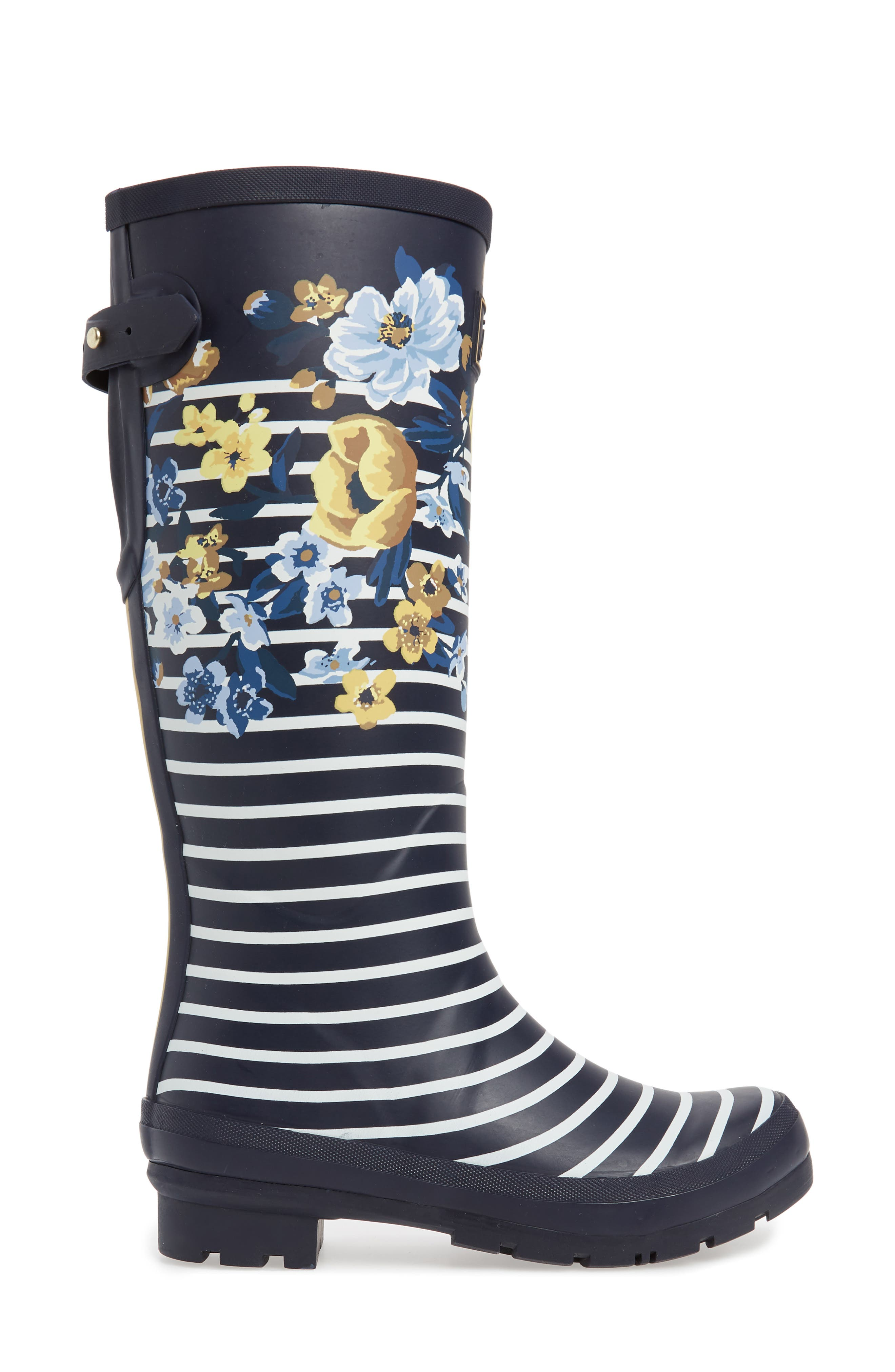 'Welly'PrintRain Boot,                             Alternate thumbnail 3, color,                             NAVY BOTANICAL