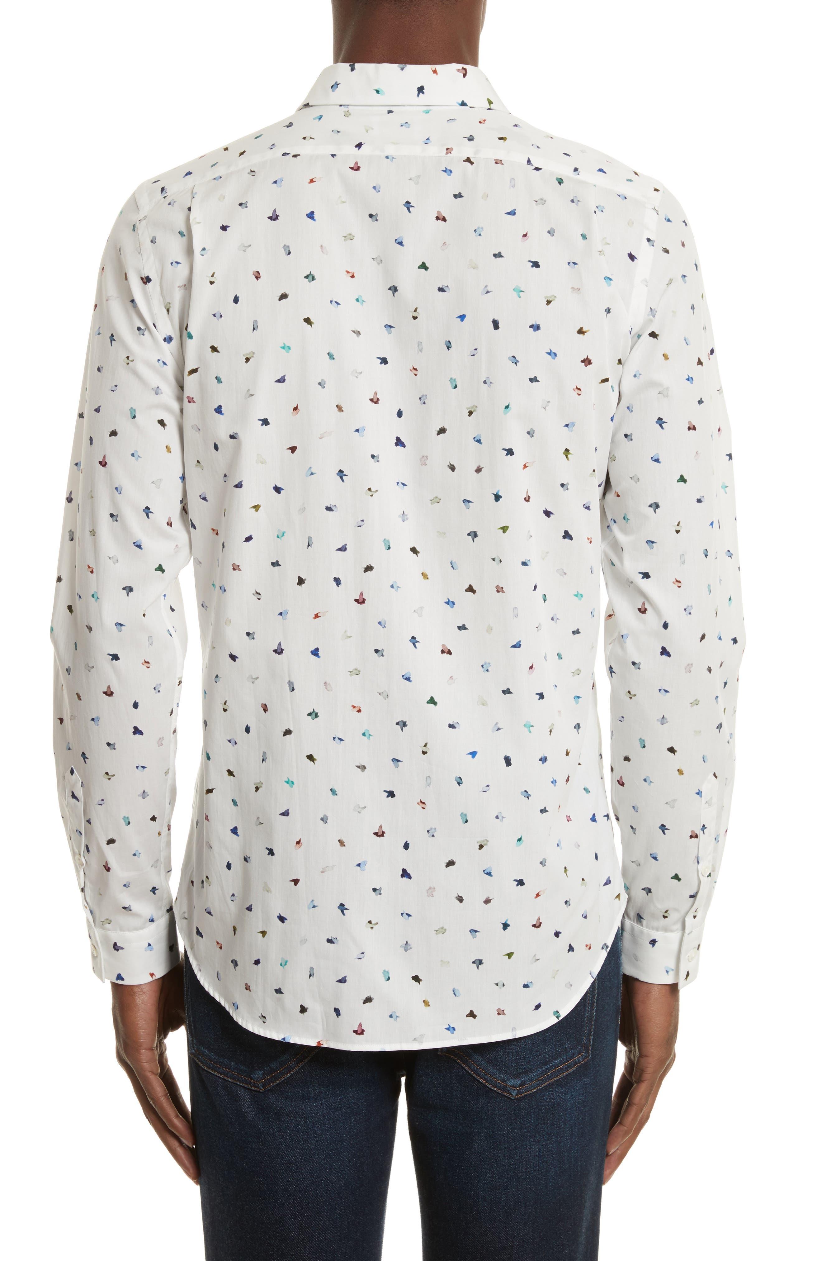 Mini Bird Print Woven Shirt,                             Alternate thumbnail 2, color,                             100