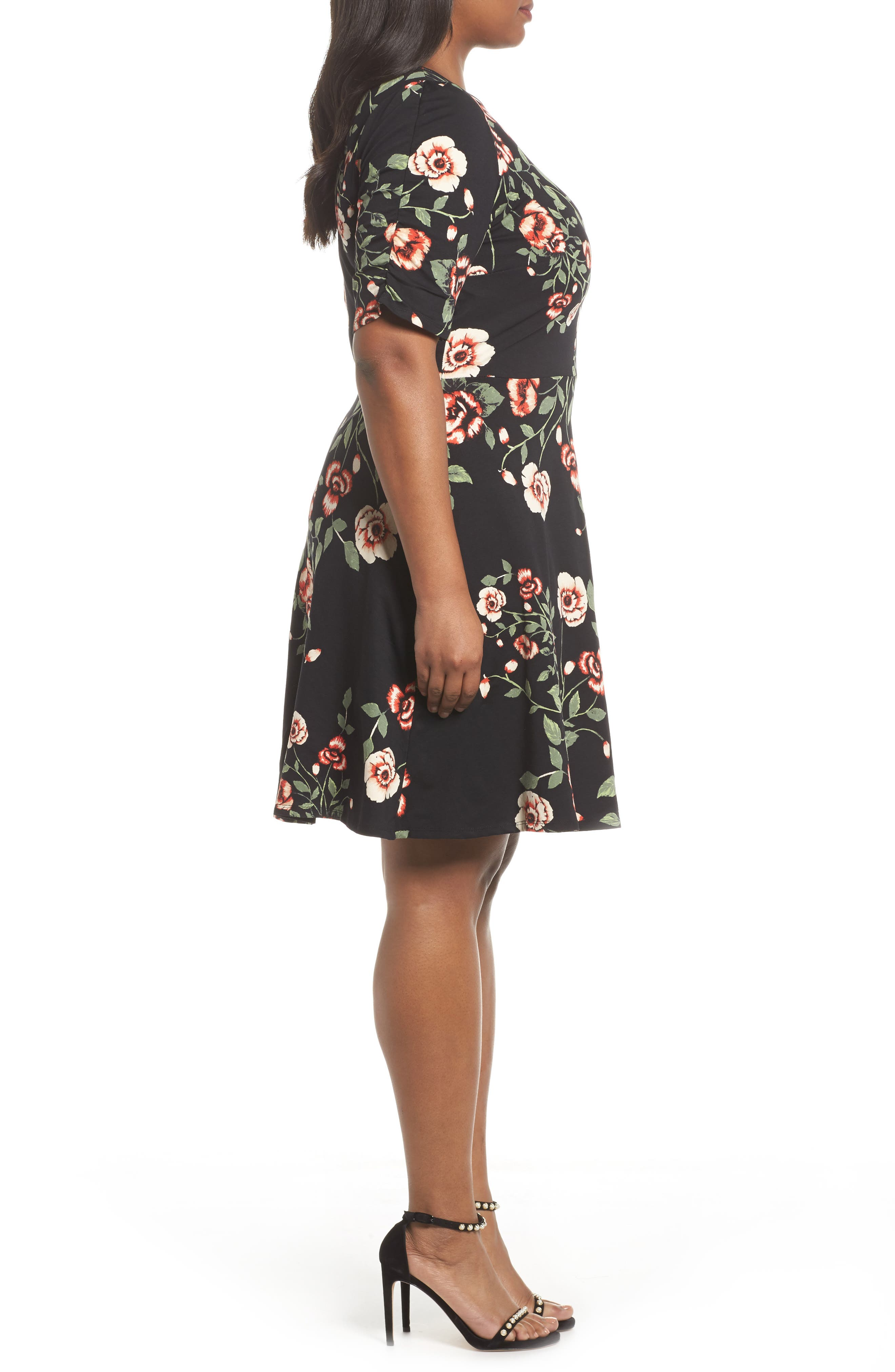 Ruched Sleeve Floral Fit & Flare Dress,                             Alternate thumbnail 3, color,                             001