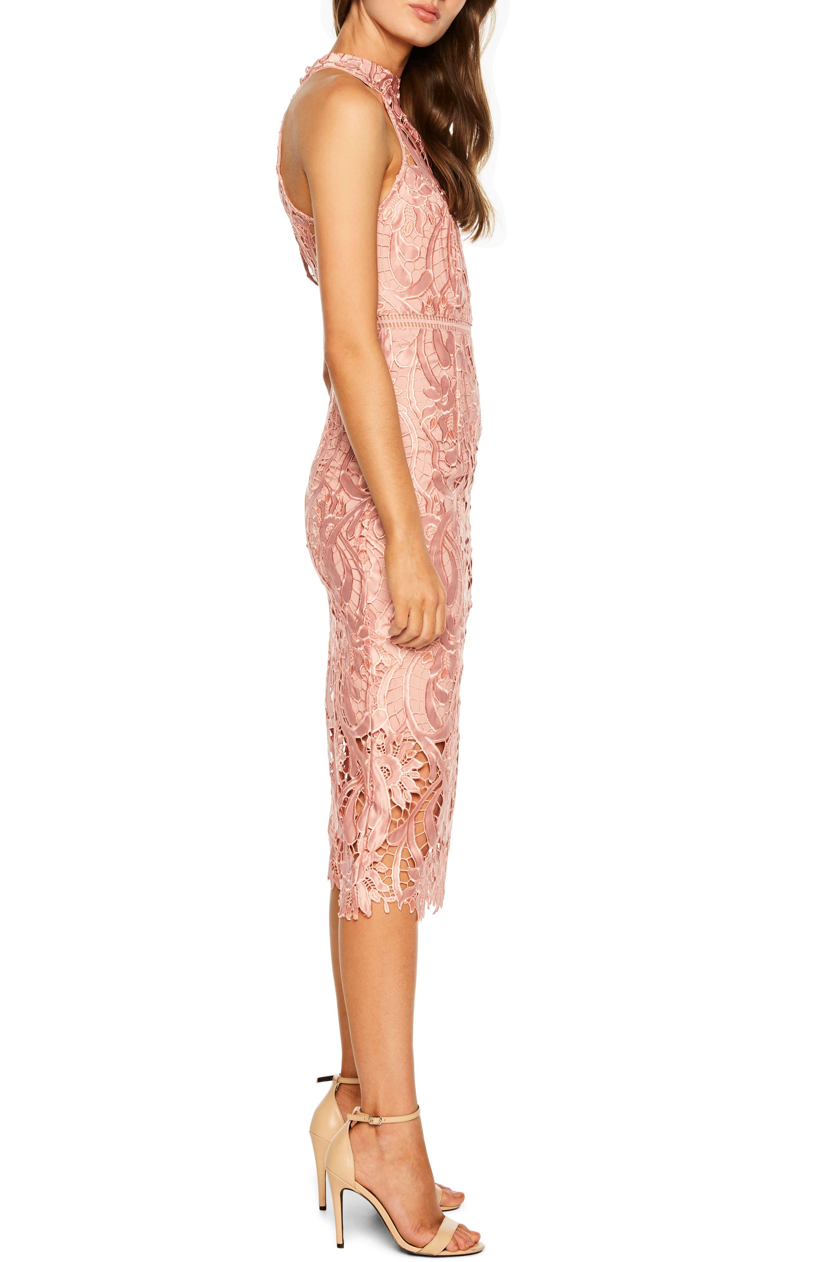 Isa Lace Halter Dress,                             Alternate thumbnail 3, color,                             VINTAGE ROSE