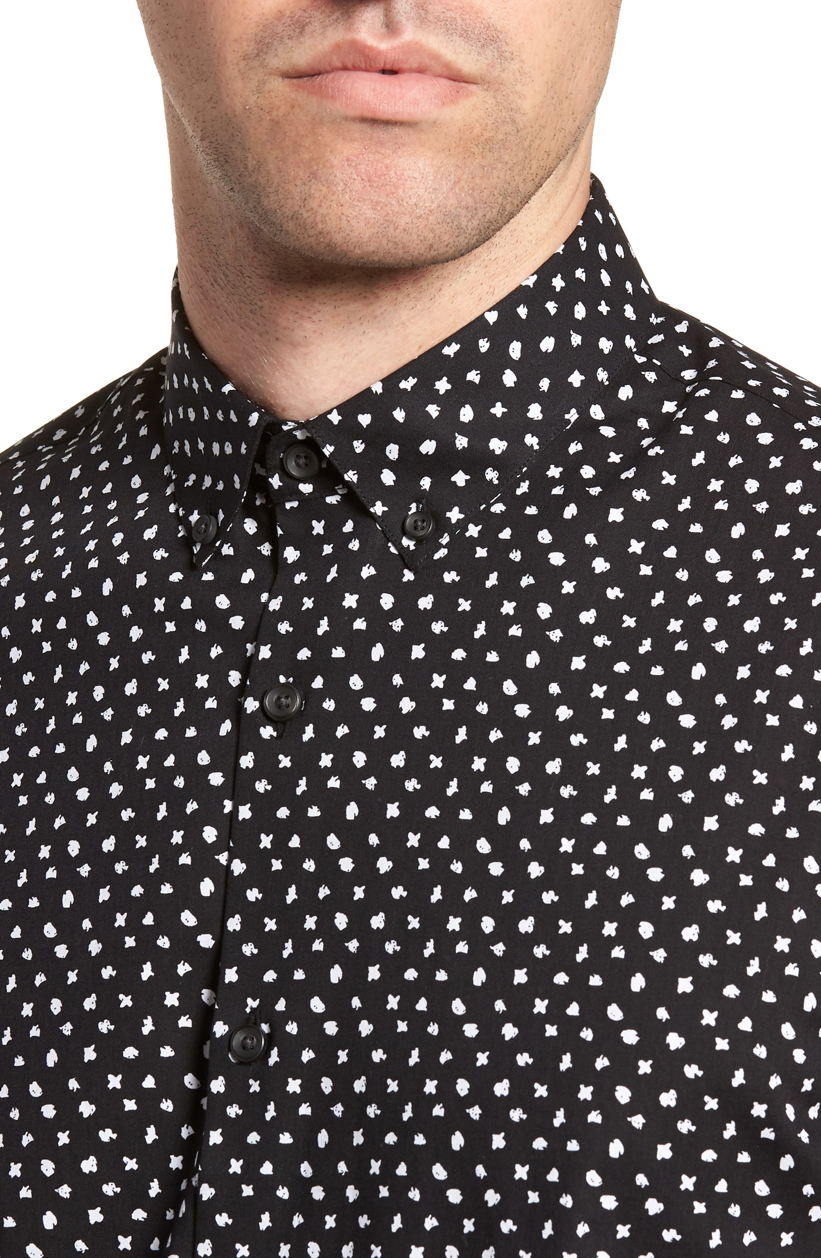 CALIBRATE,                             Trim Fit Dot Print Sport Shirt,                             Alternate thumbnail 4, color,                             001