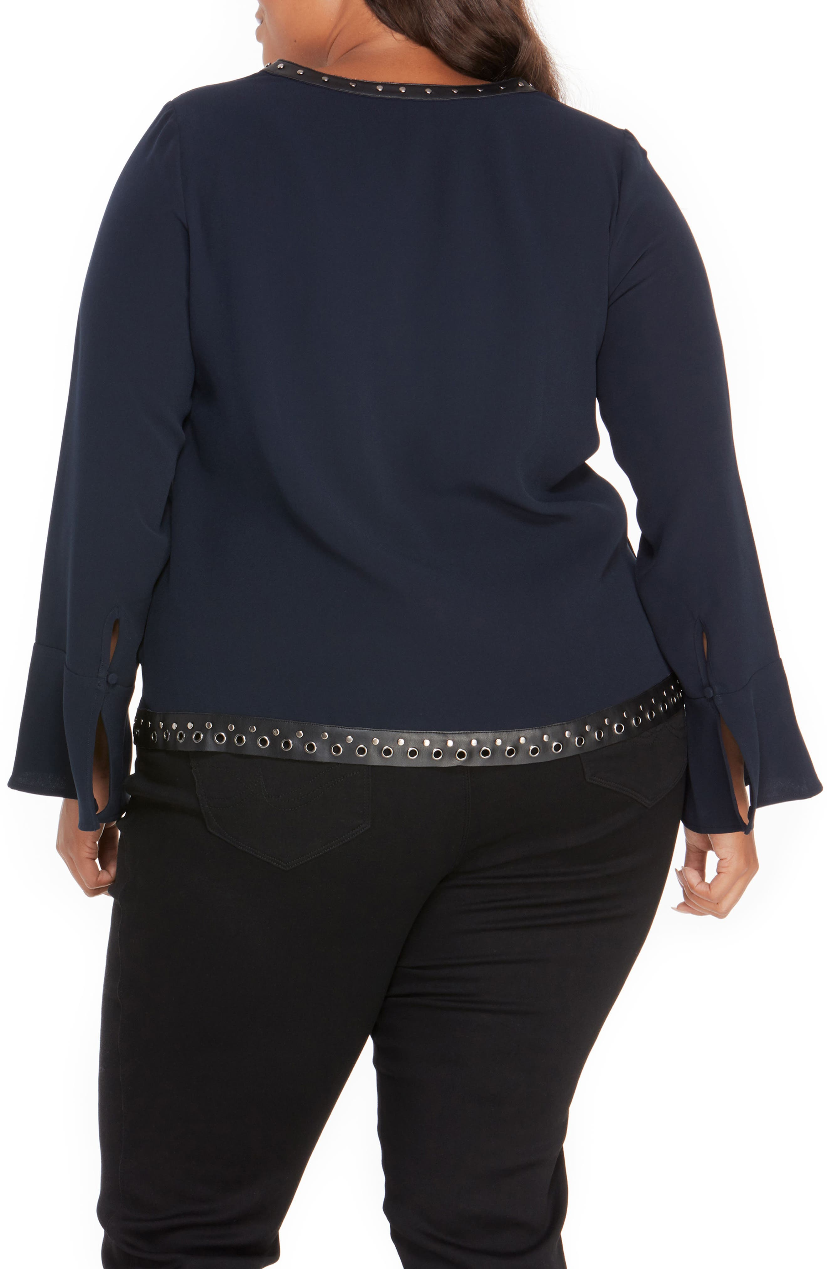 Studded Faux Leather Trim Top,                             Alternate thumbnail 5, color,