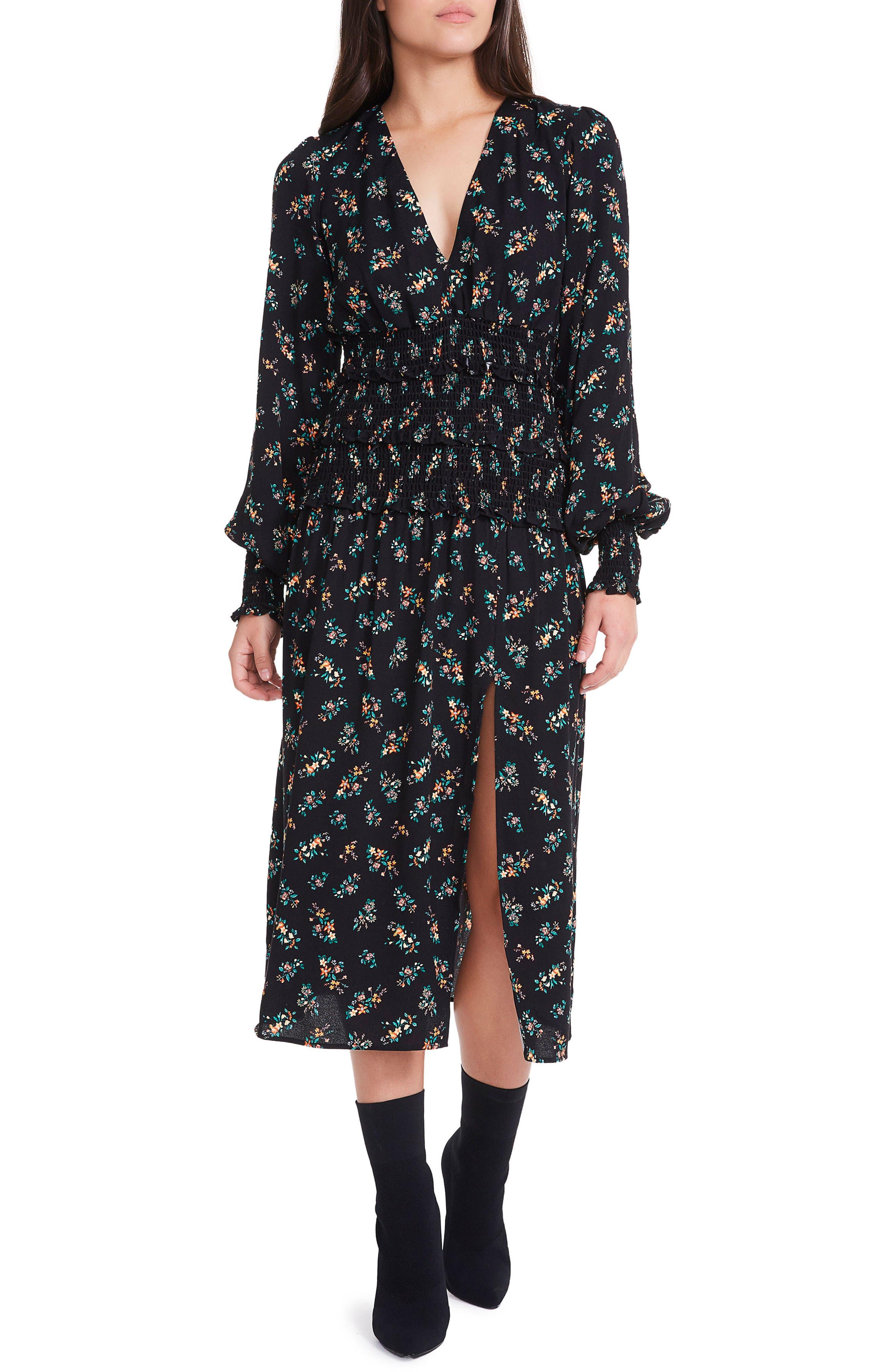 Hazel Smocked Midi Dress,                             Main thumbnail 1, color,                             001