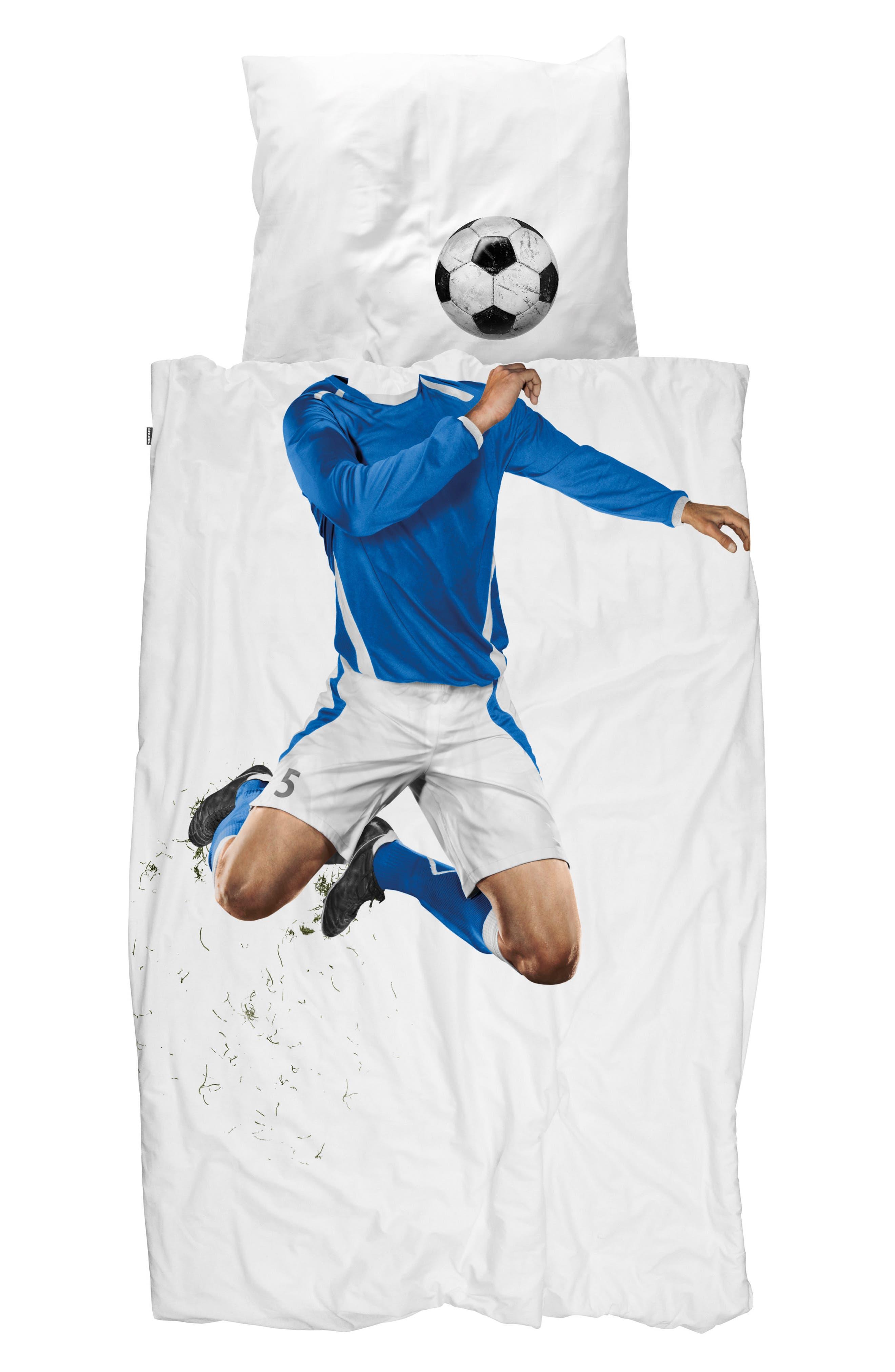 Soccer Player Twin Duvet Cover & Pillowcase,                             Main thumbnail 1, color,                             100
