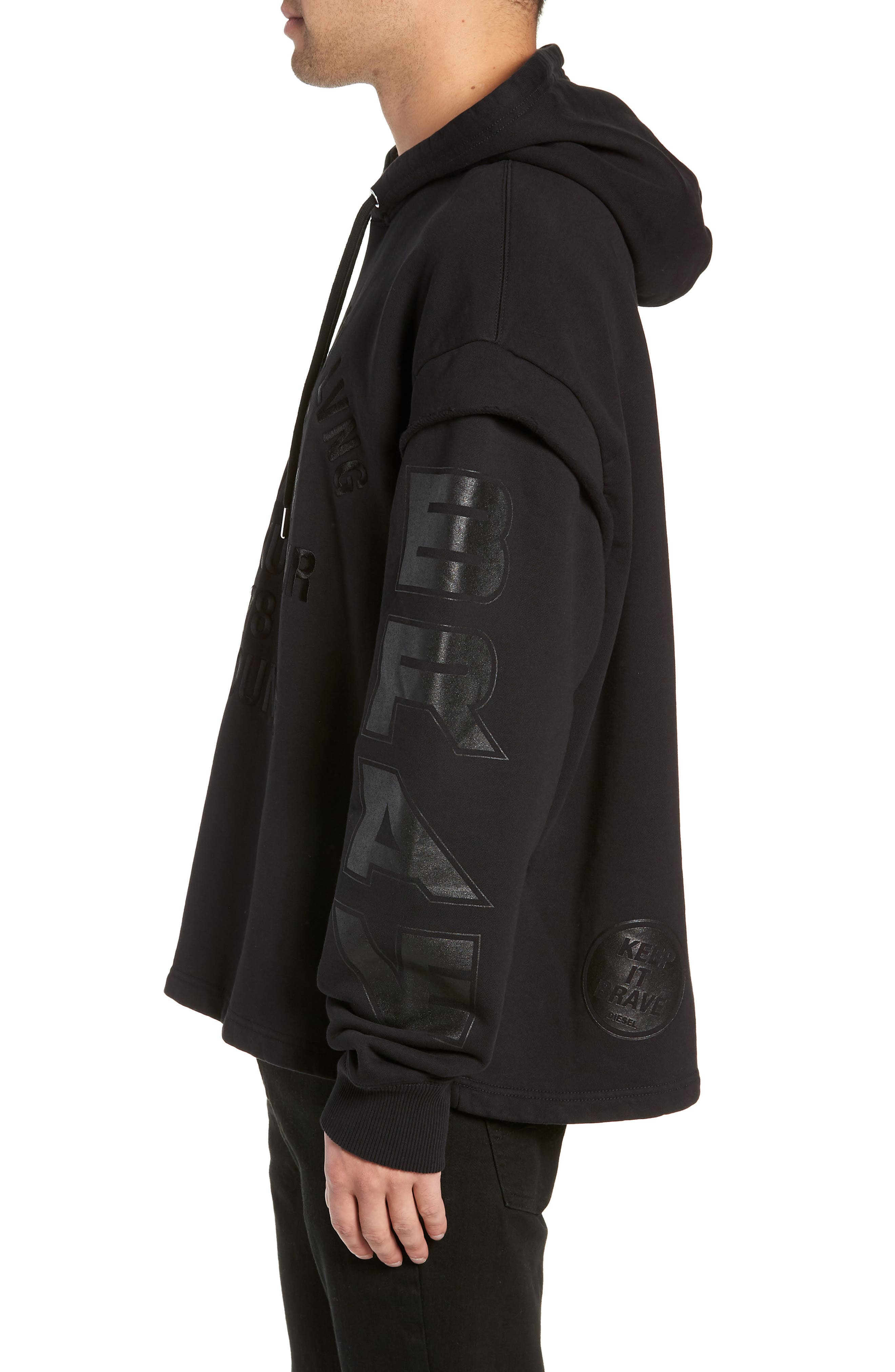 S-DRIVE-LS-XA Embroidered Hooded Sweatshirt,                             Alternate thumbnail 4, color,                             BLACK