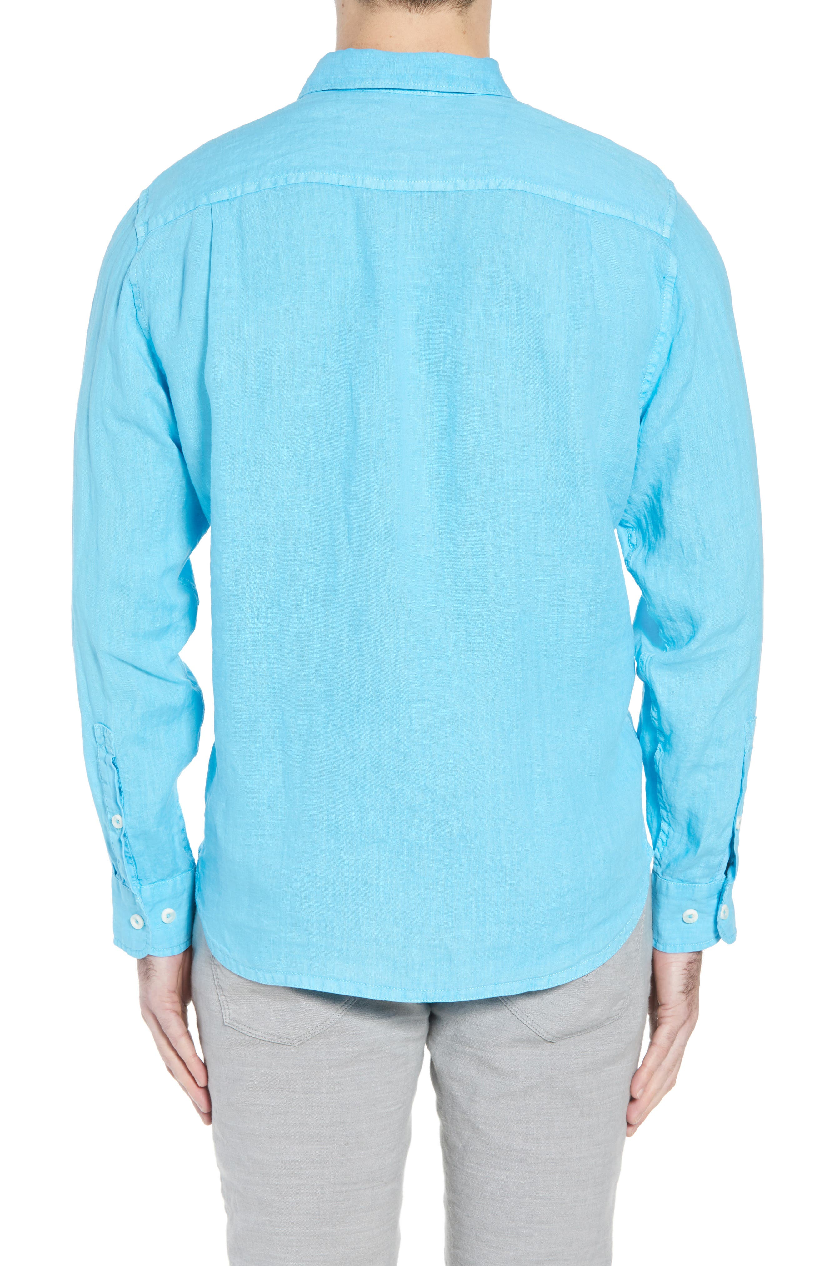 Seaspray Breezer Standard Fit Linen Sport Shirt,                             Alternate thumbnail 2, color,                             POOL PARTY BLUE