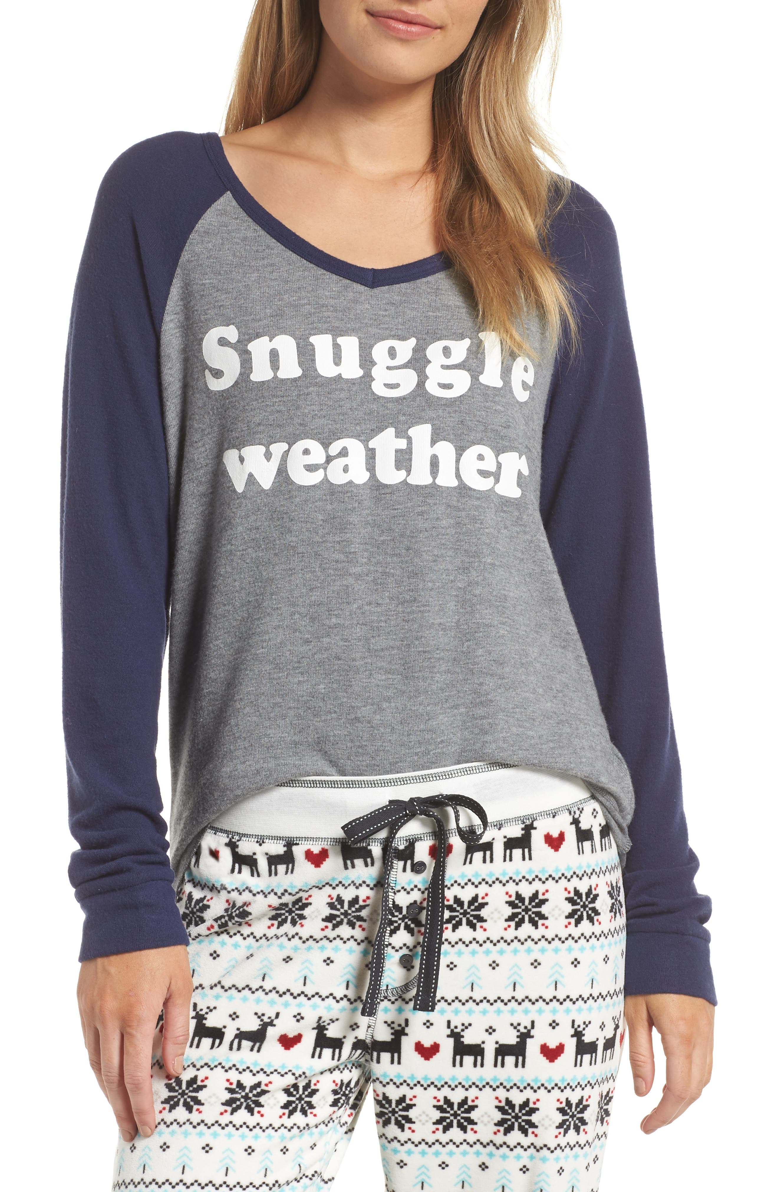 Snuggle Weather Tee,                             Main thumbnail 1, color,                             HEATHER GREY