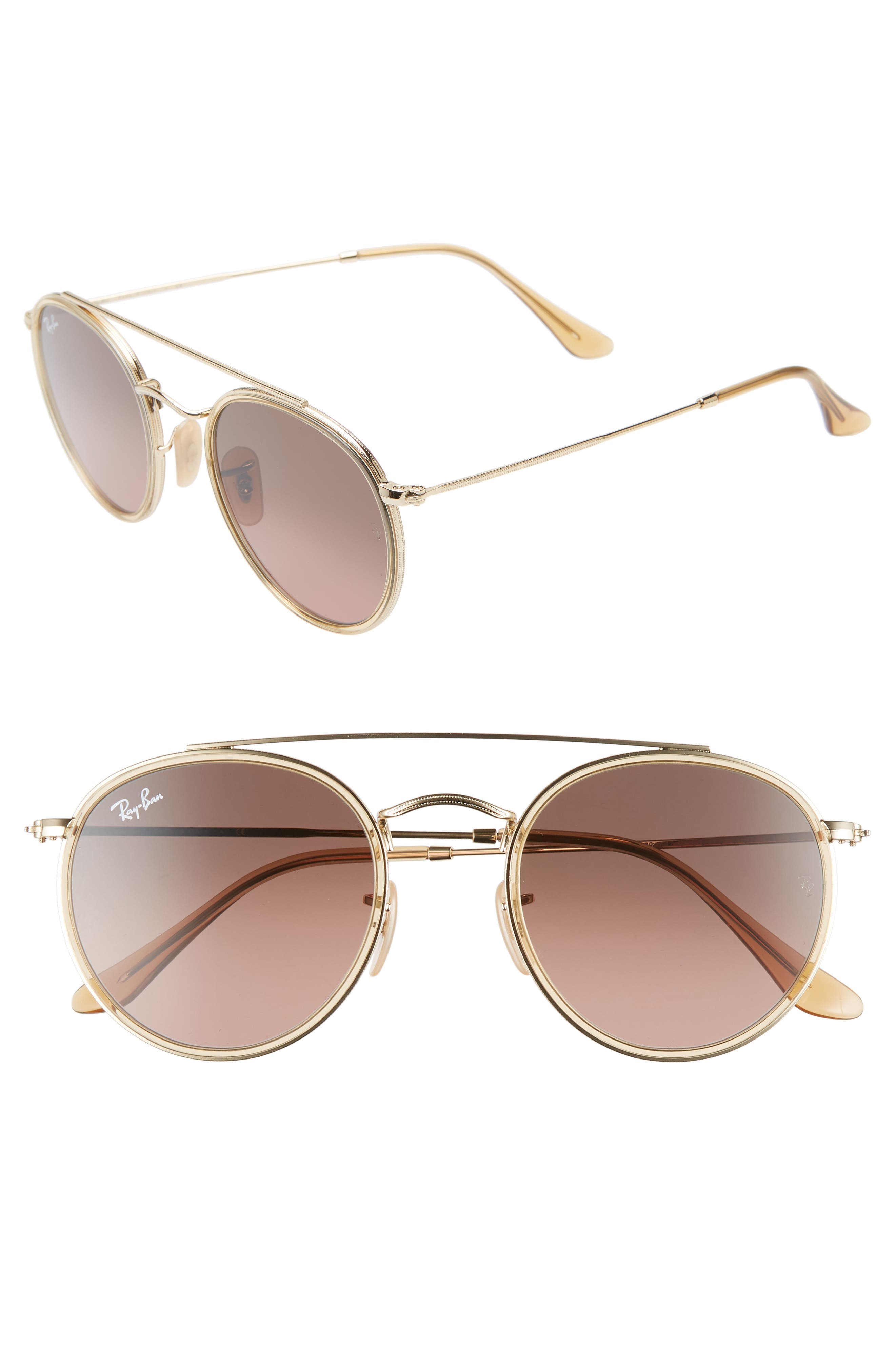51mm Aviator Gradient Lens Sunglasses,                         Main,                         color, GOLD/ BROWN GRADIENT