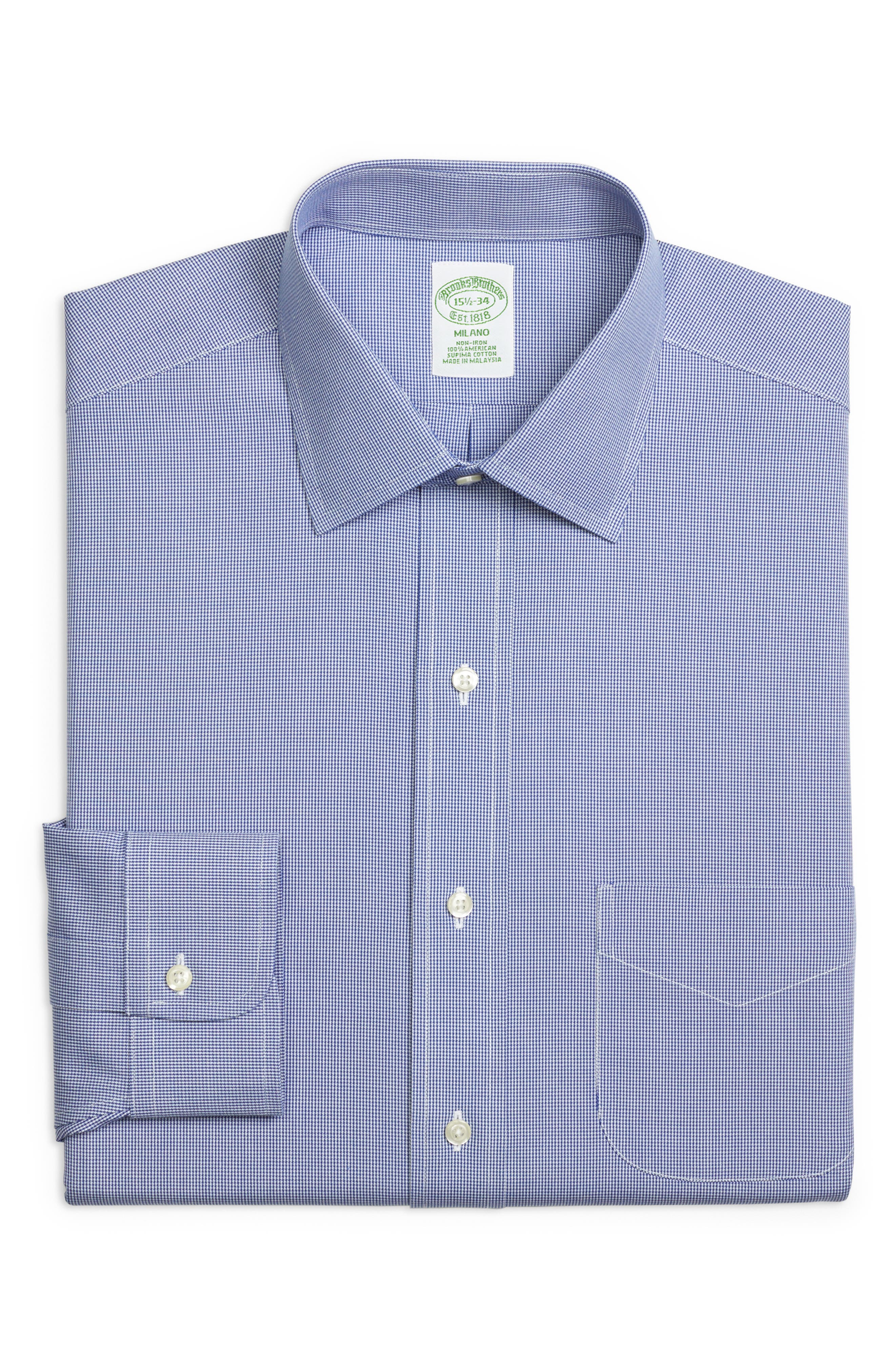 Trim Fit Houndstooth Dress Shirt,                             Main thumbnail 1, color,                             BLUE