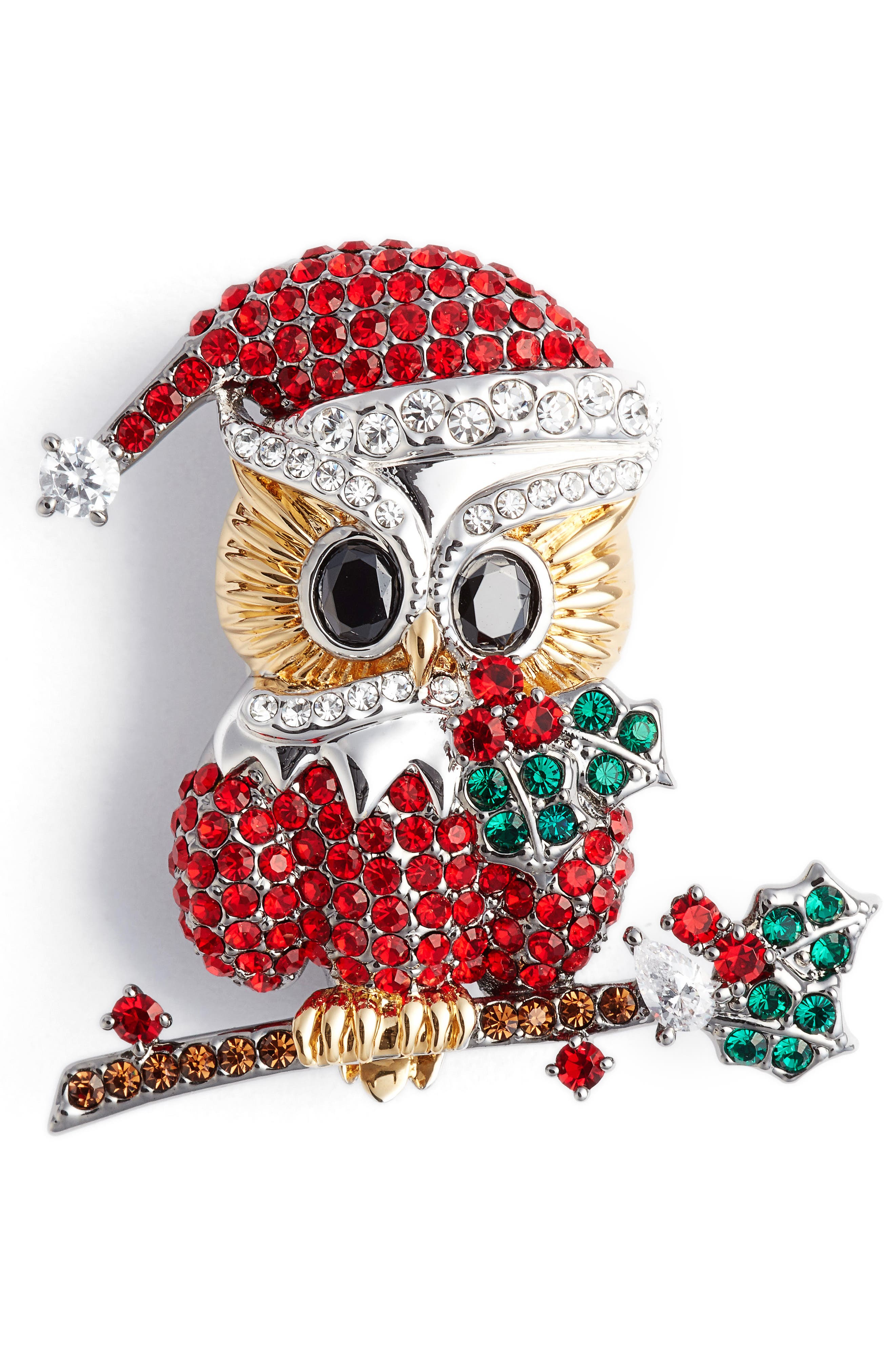 Vintage Style Jewelry, Retro Jewelry Womens Nadri Jolly Owl Pin $75.00 AT vintagedancer.com