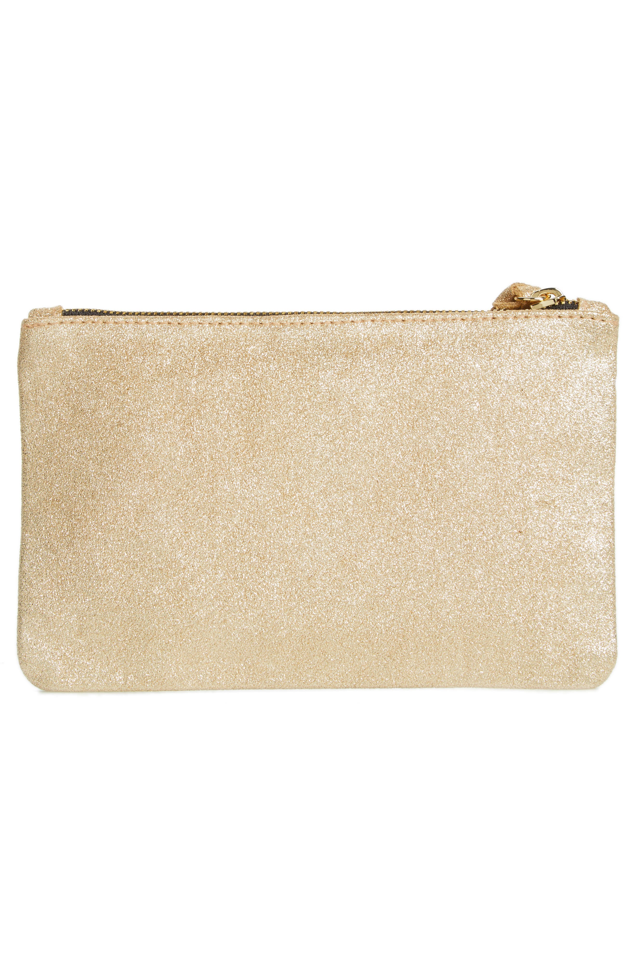 Shimmer Suede Wallet Clutch,                             Alternate thumbnail 3, color,                             710