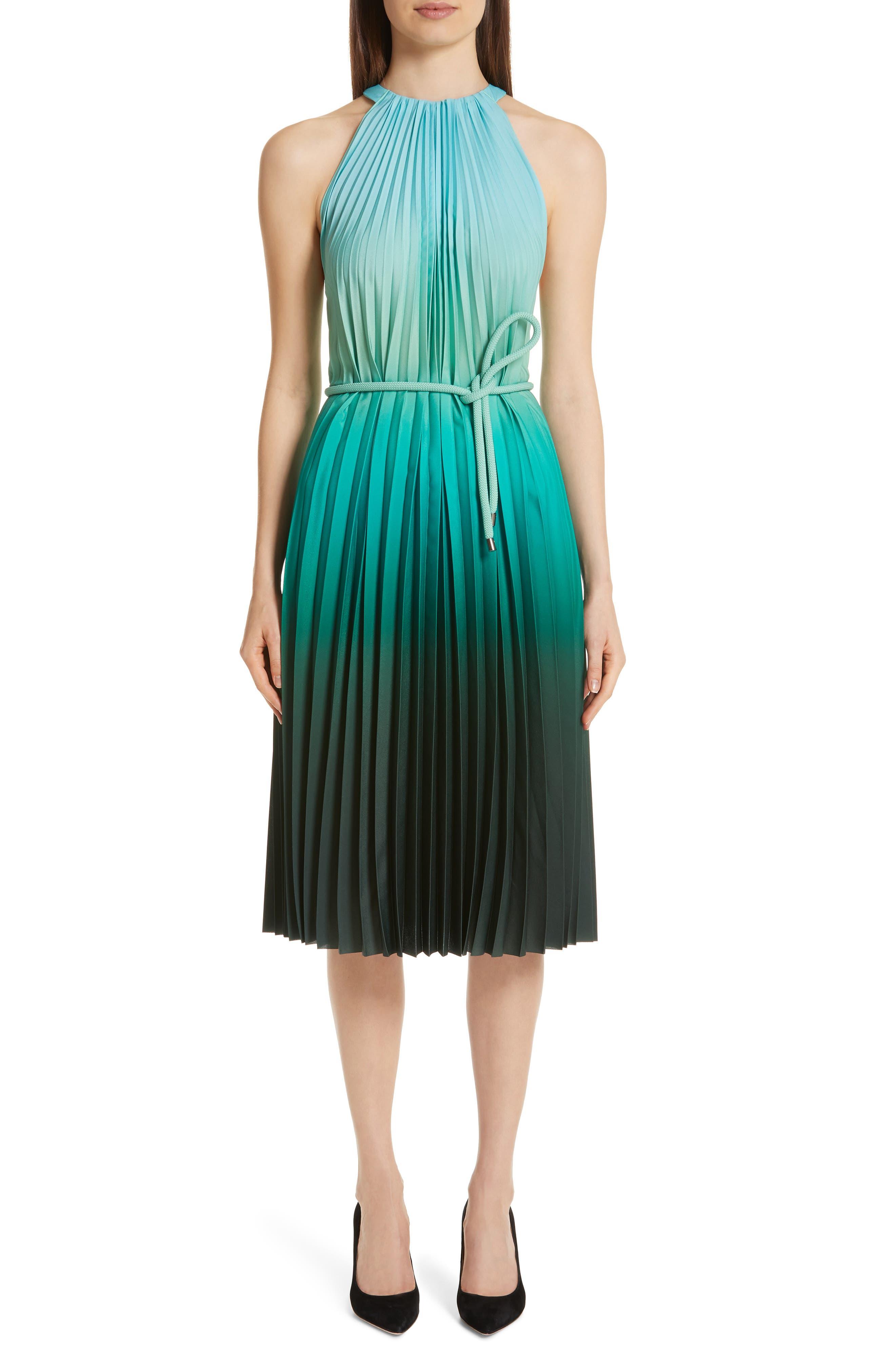 Max Mara Fuxia Pleated Dress, Blue