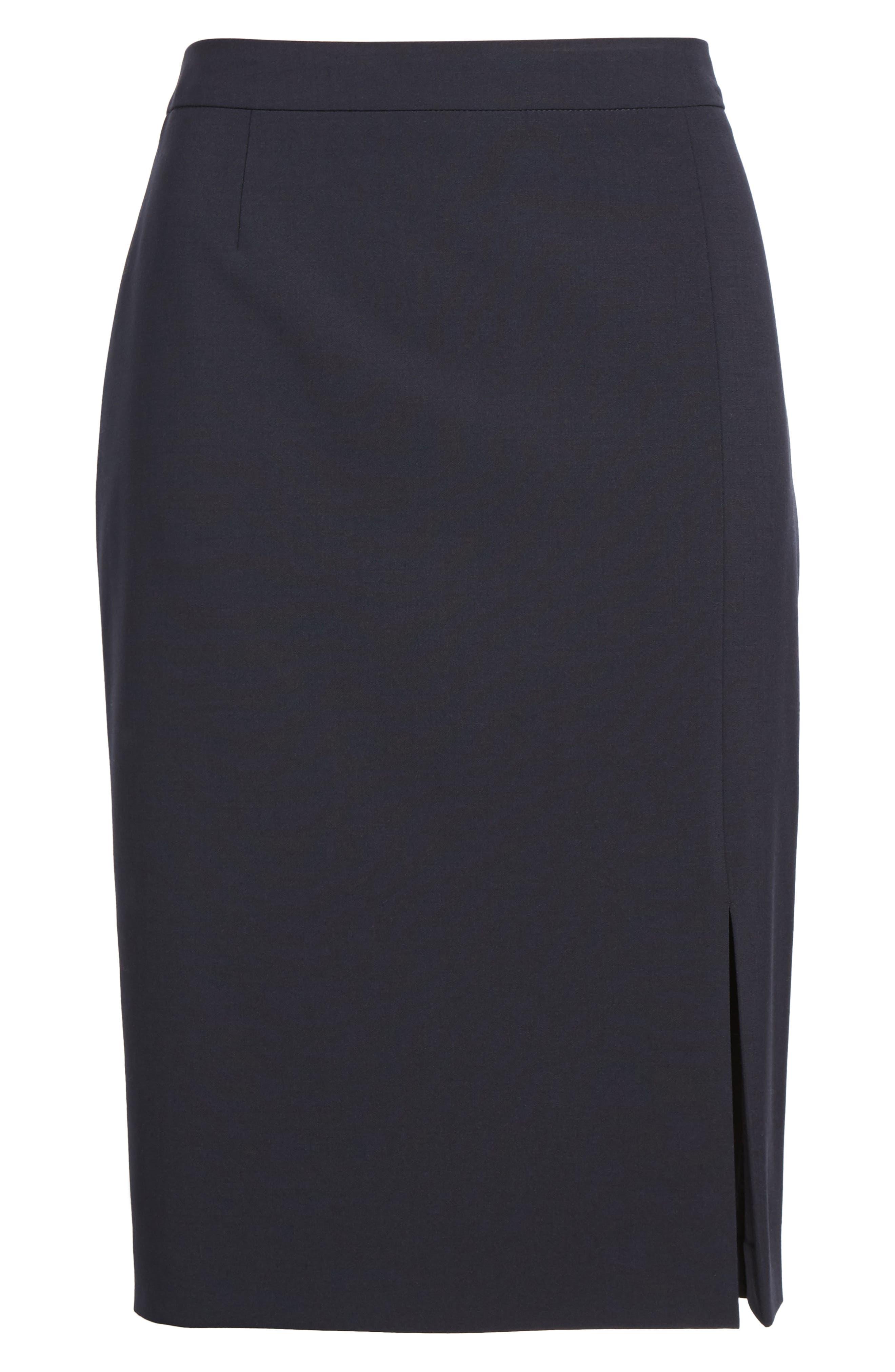 BOSS,                             Volania Stretch Wool Side Slit Pencil Skirt,                             Alternate thumbnail 6, color,                             480