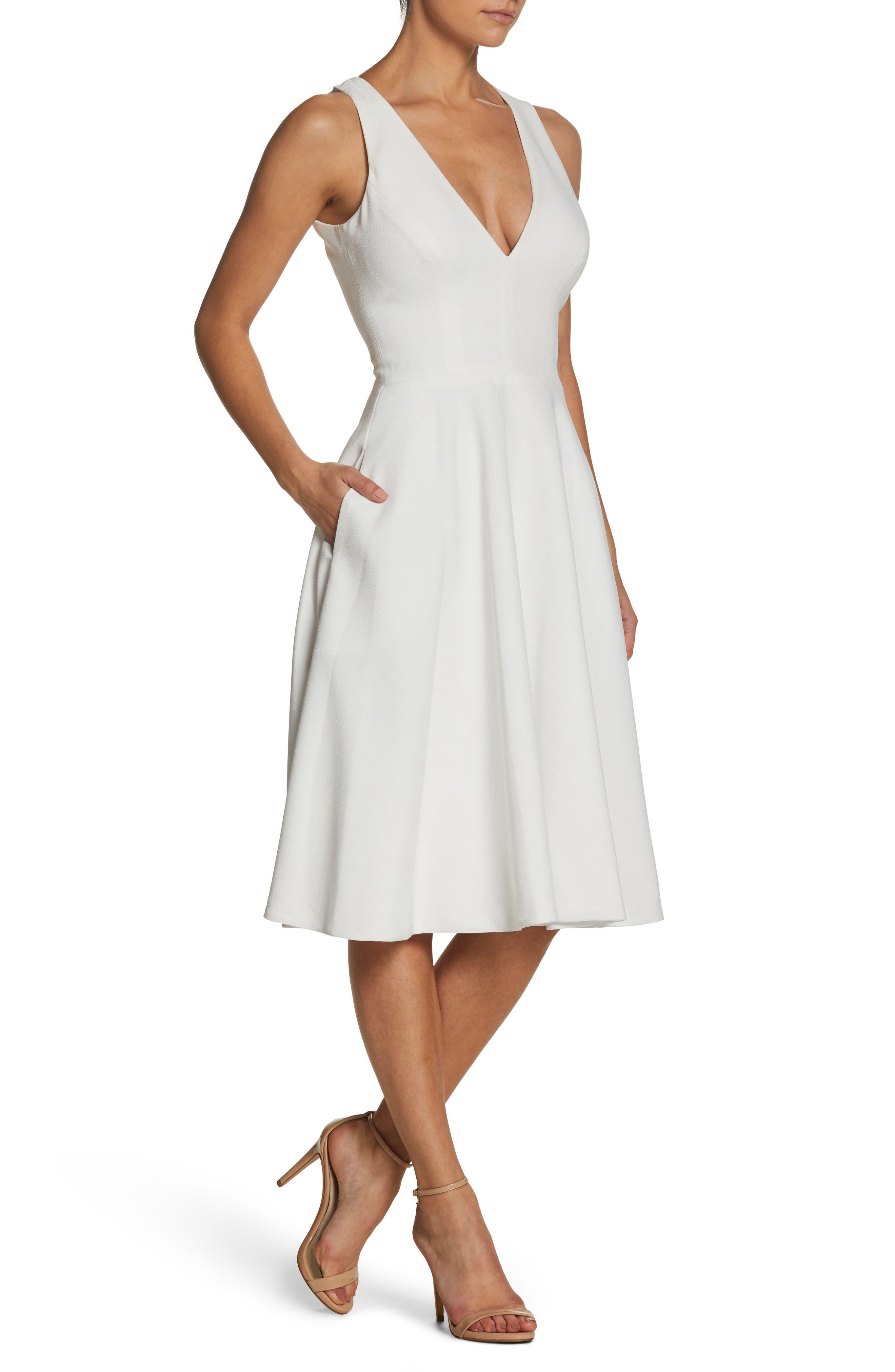 Dress The Population Catalina Tea Length Fit & Flare Dress, White
