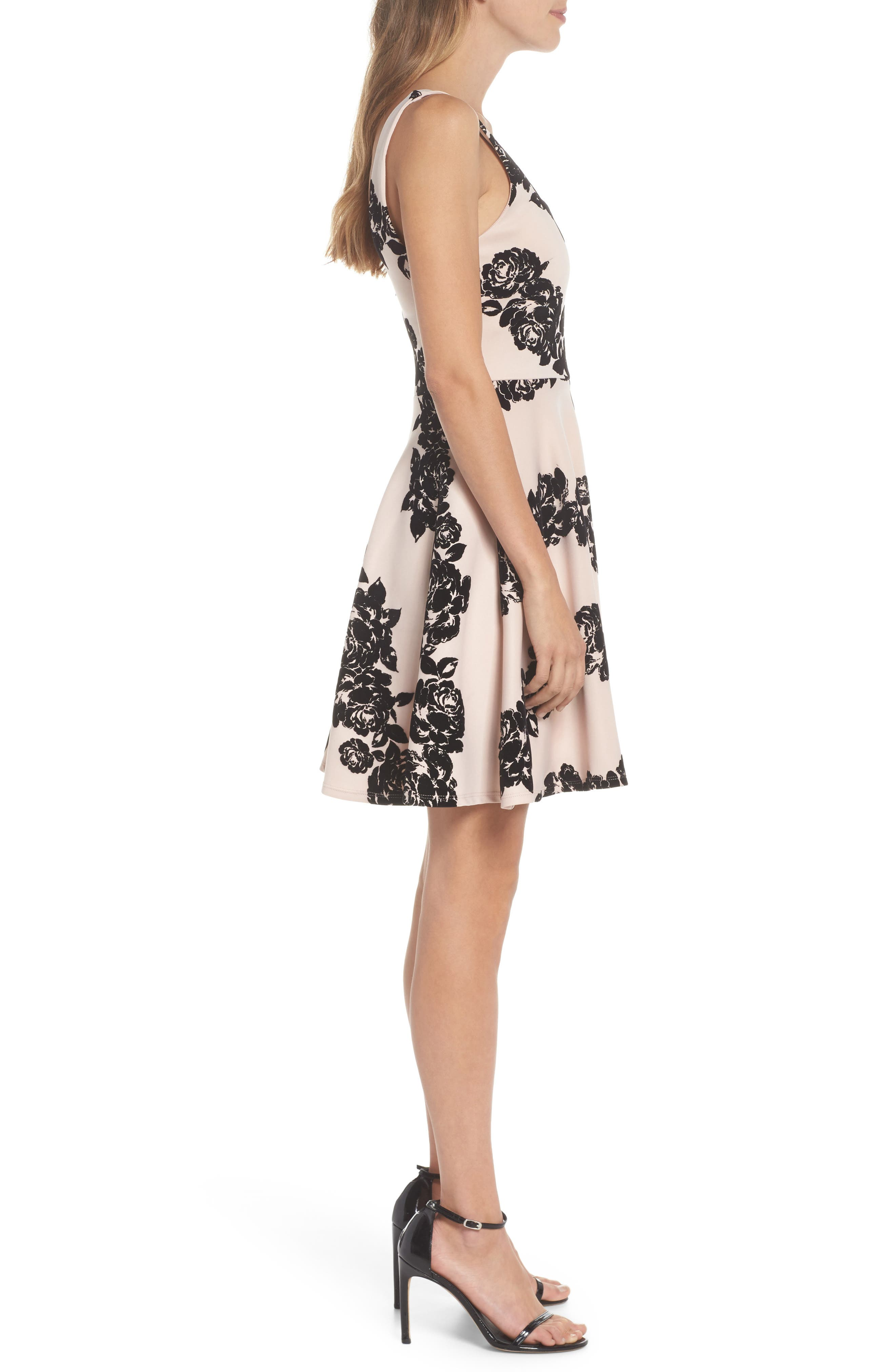 Floral Flocked Fit-and-Flare Dress,                             Alternate thumbnail 3, color,                             680