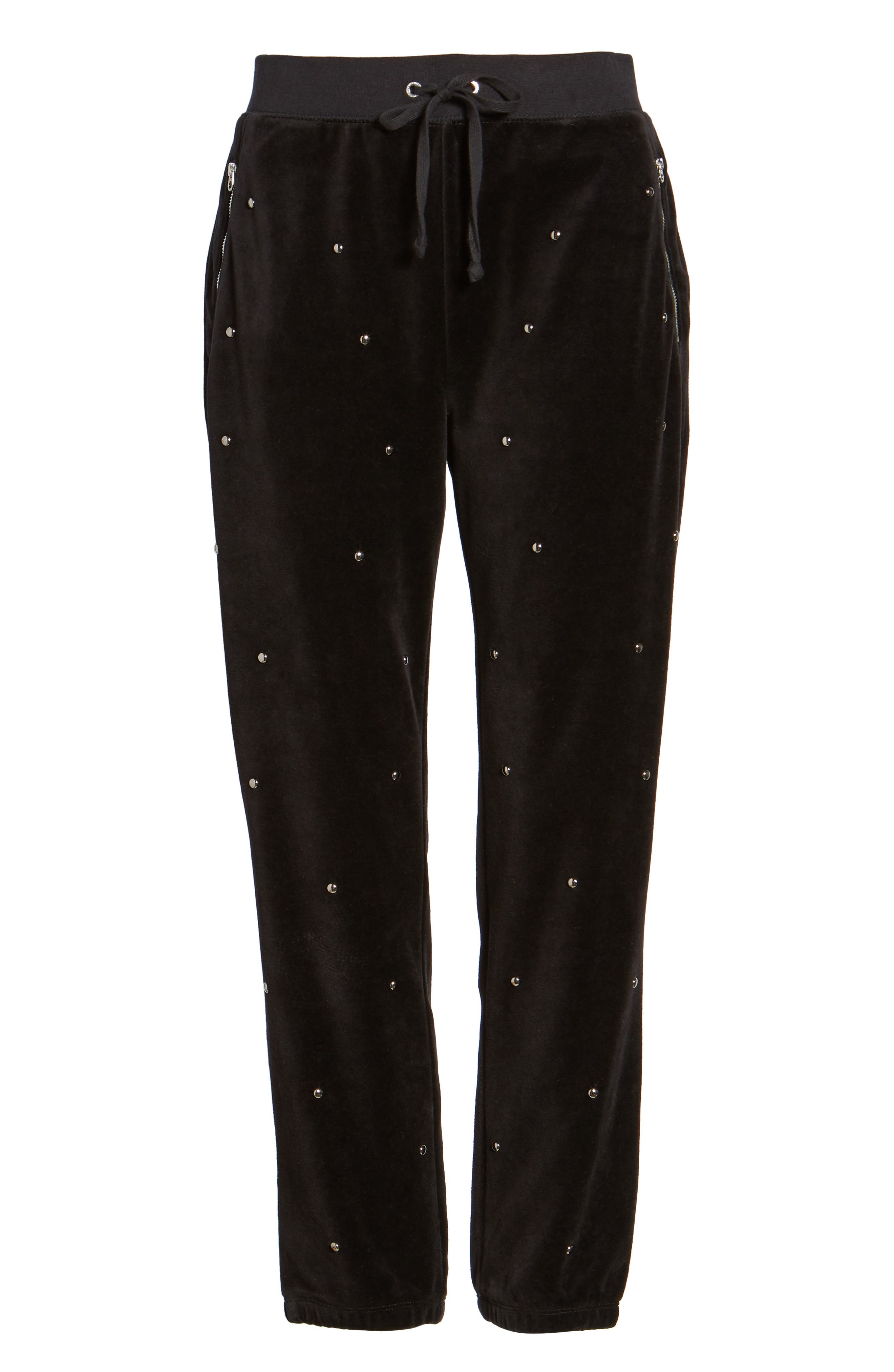Velour Studded Track Pants,                             Alternate thumbnail 6, color,                             009