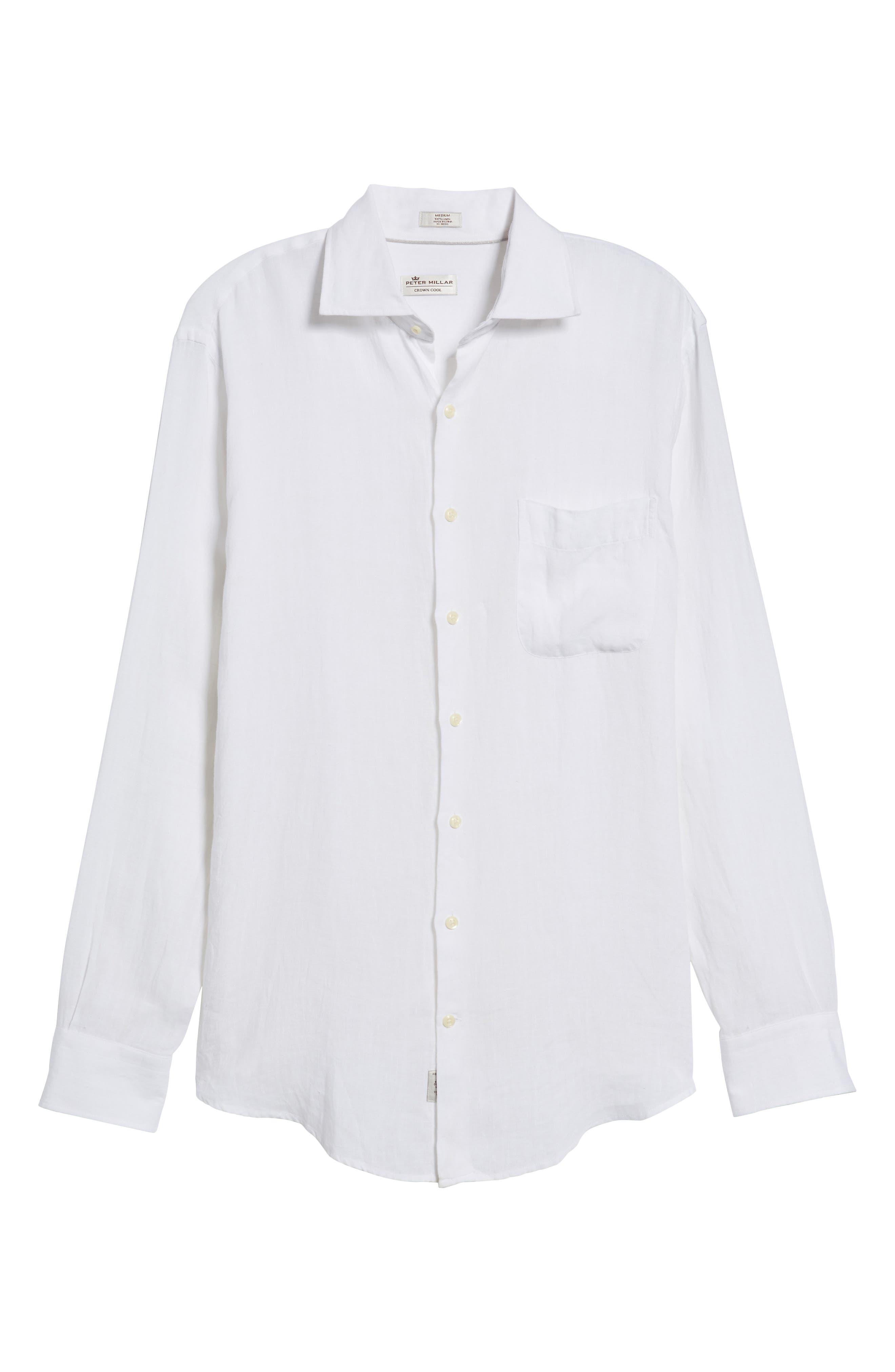 Classic Fit Crown Cool Linen Sport Shirt,                             Alternate thumbnail 6, color,                             100