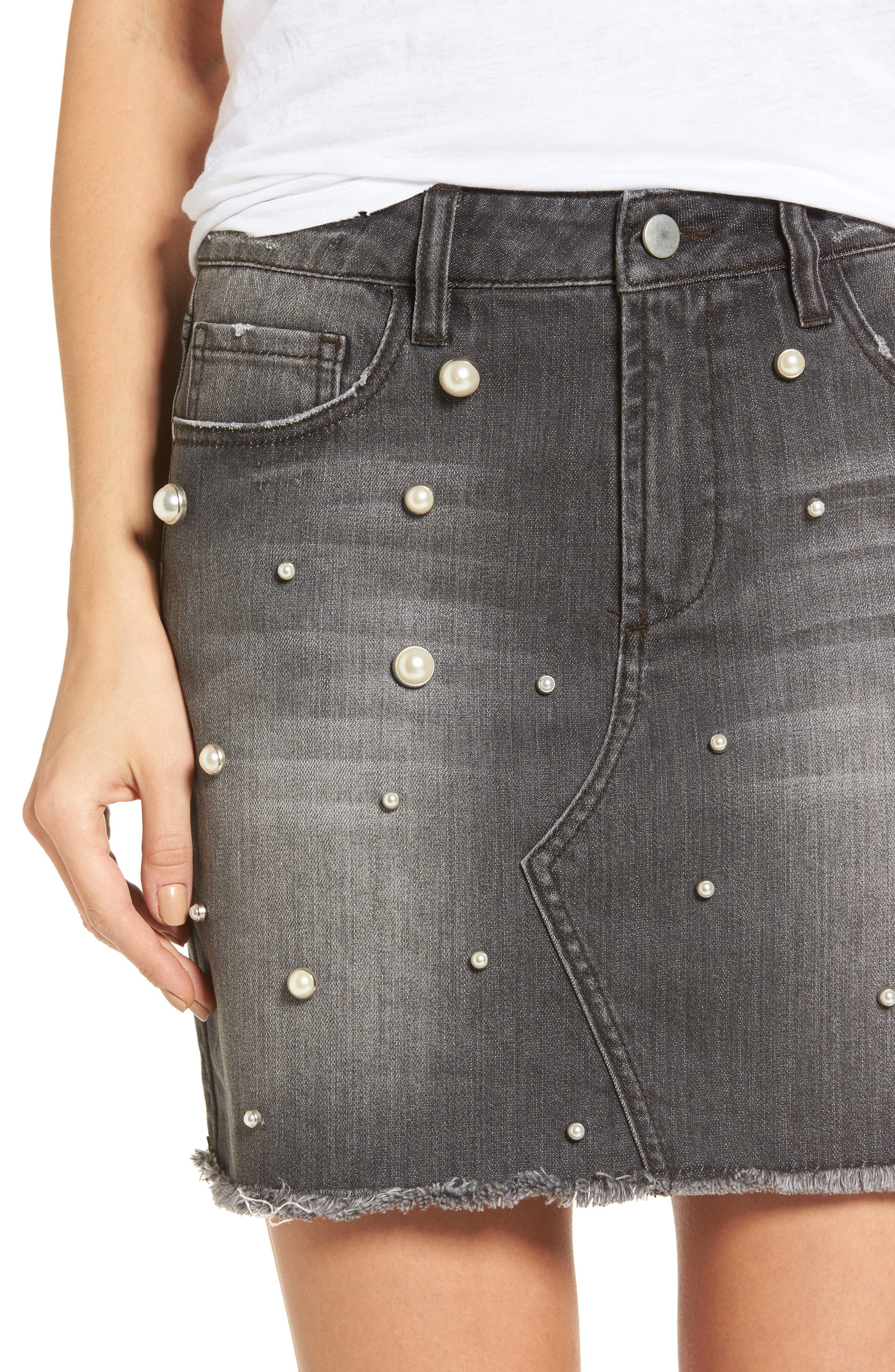Imitation Pearl Detail Skirt,                             Alternate thumbnail 4, color,                             020