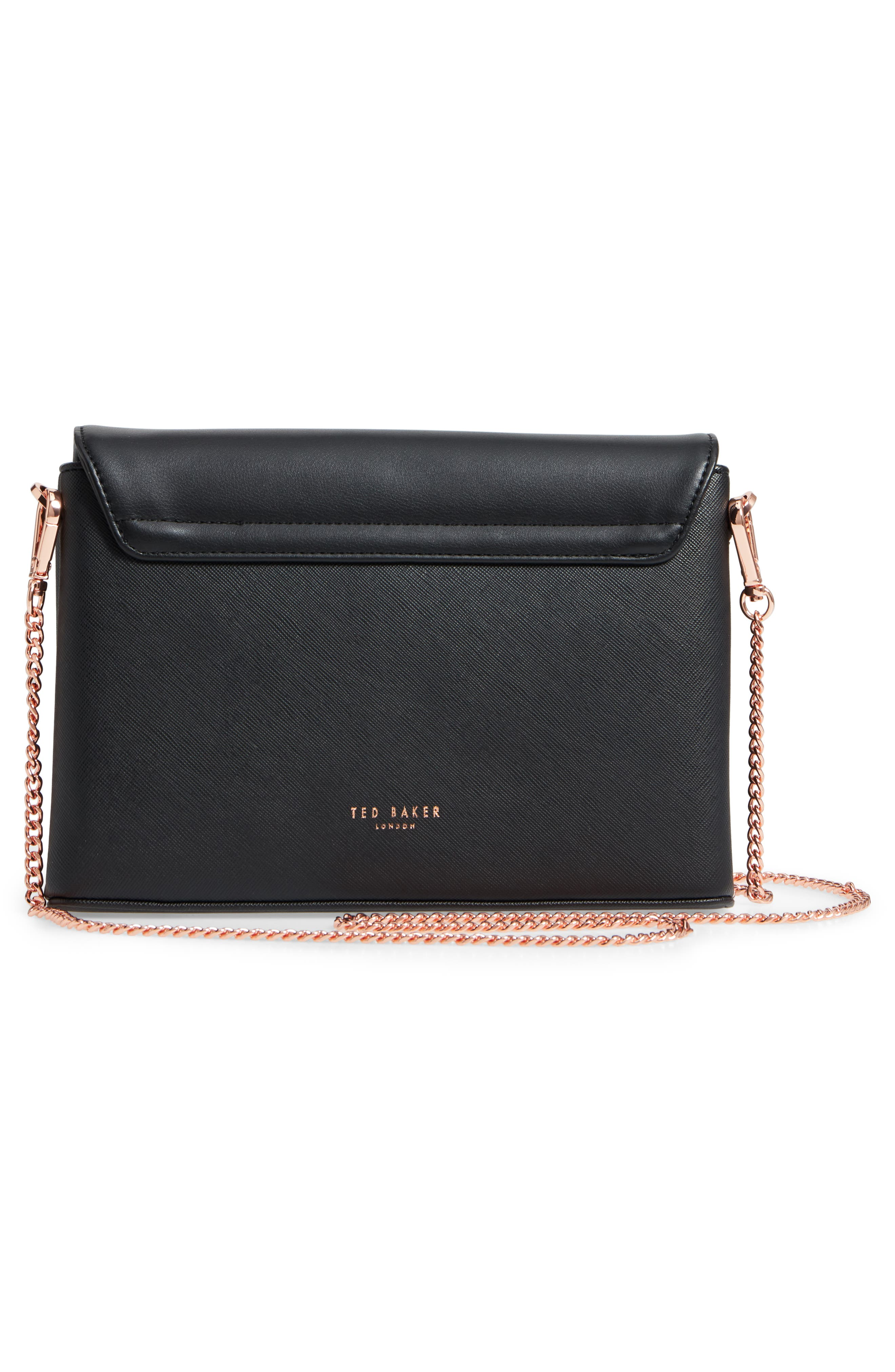 Faux Leather Crossbody Bag,                             Alternate thumbnail 3, color,                             BLACK