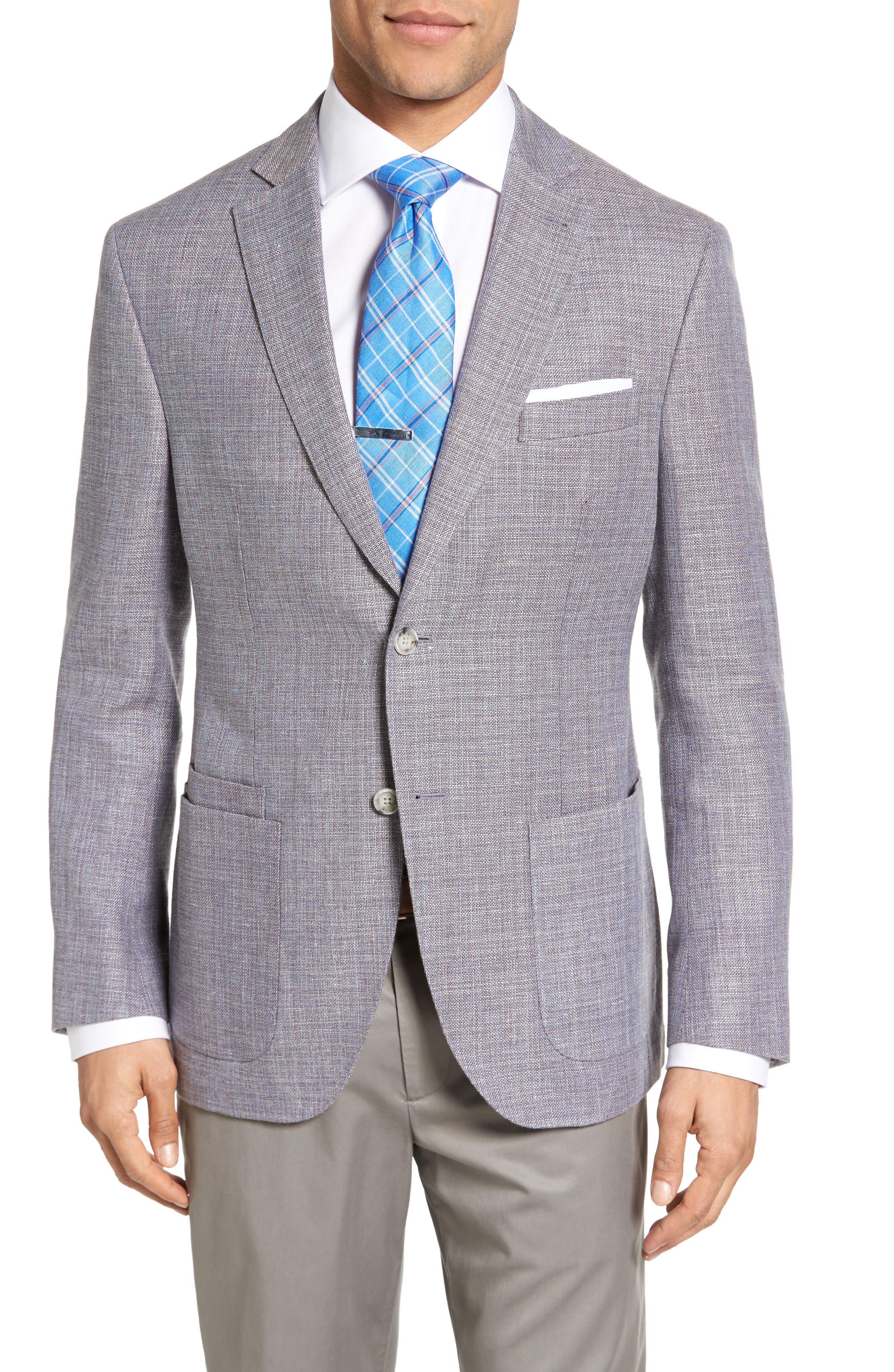 JKT NEW YORK,                             Trim Fit Wool & Linen Blazer,                             Main thumbnail 1, color,                             020