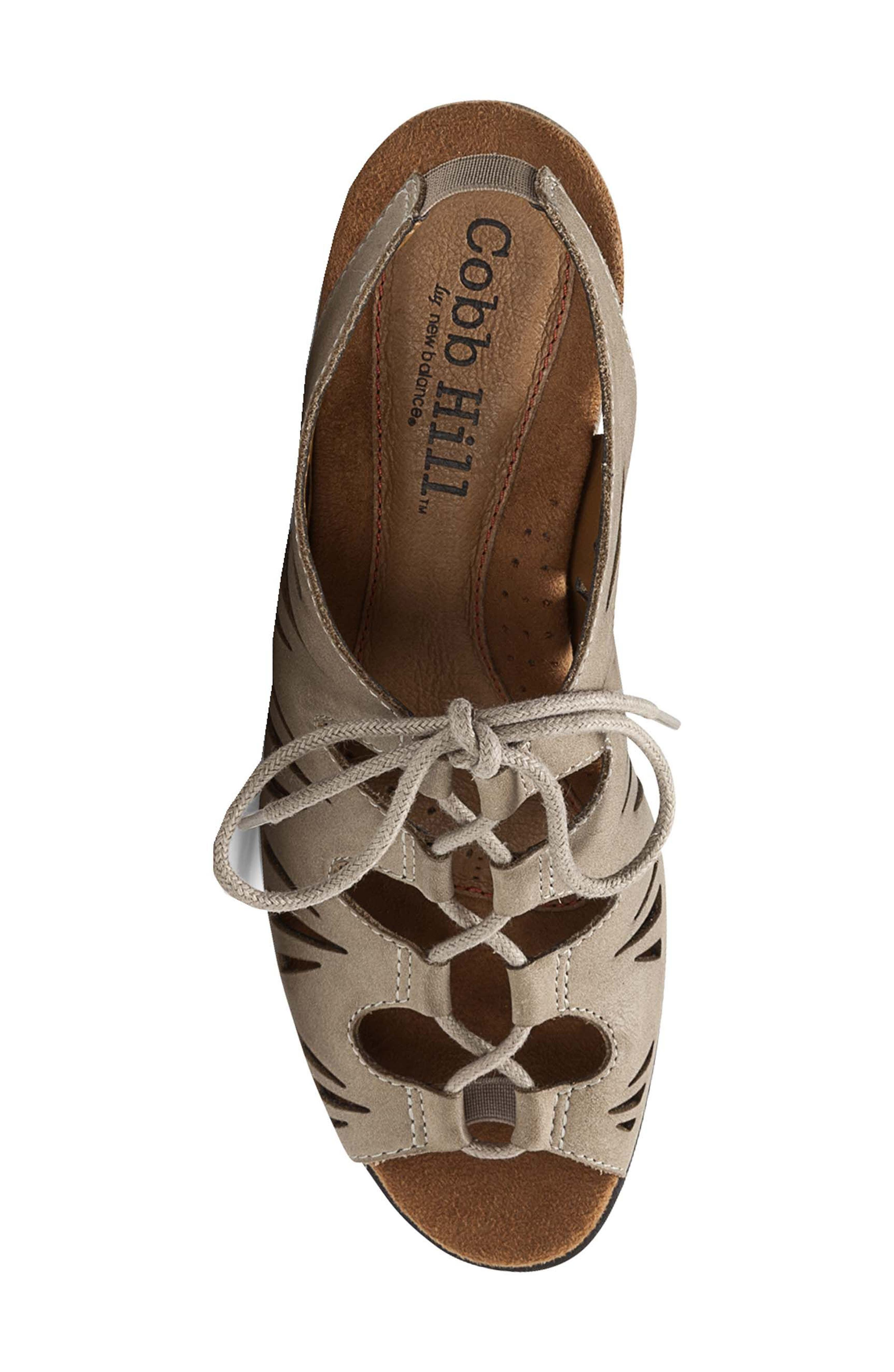 Cobb Hill 'Sasha' Caged Leather Peep Toe Sandal,                             Alternate thumbnail 4, color,                             KHAKI NUBUCK LEATHER
