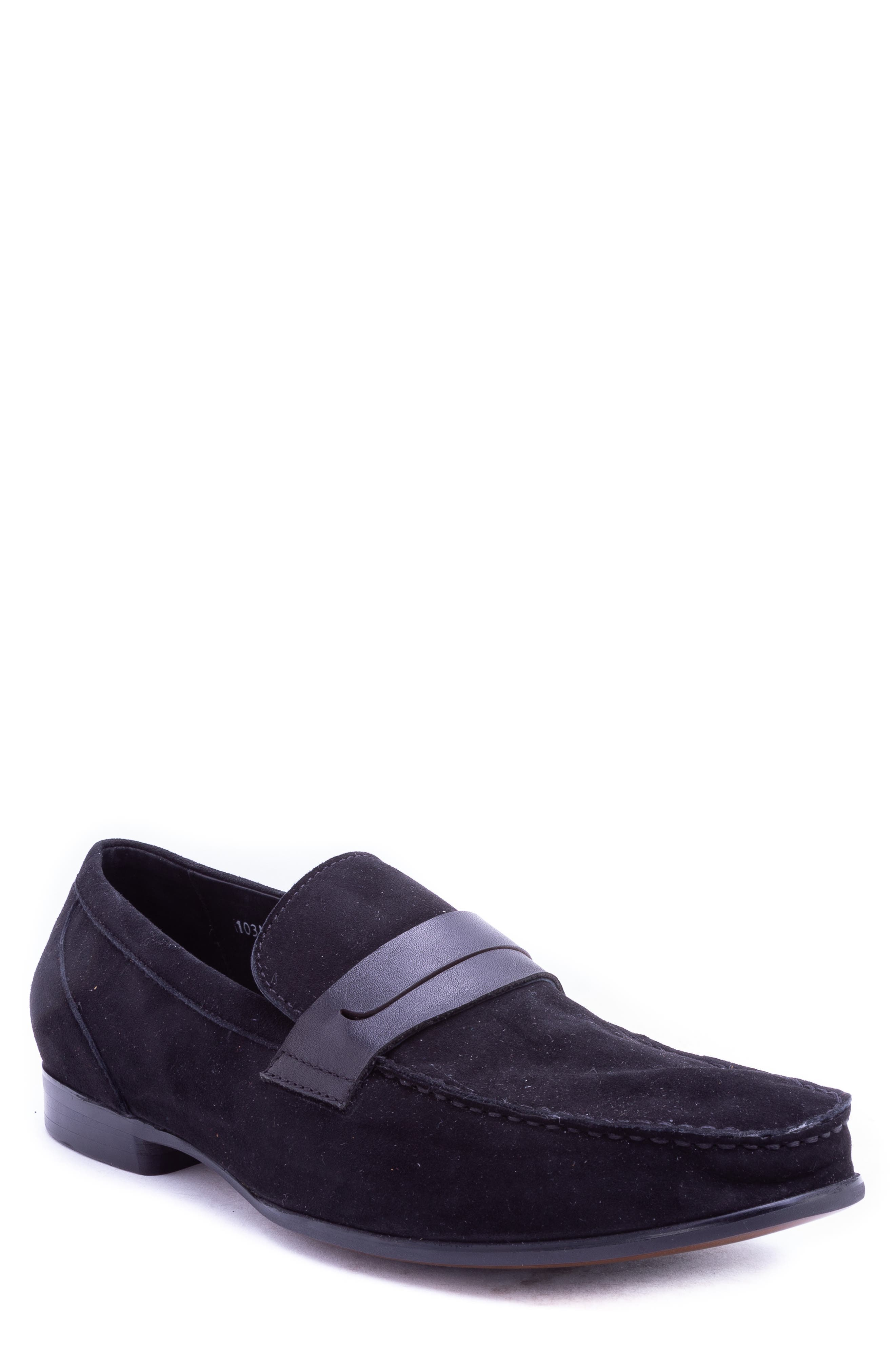 Opie Penny Loafer,                         Main,                         color, BLACK SUEDE/ LEATHER