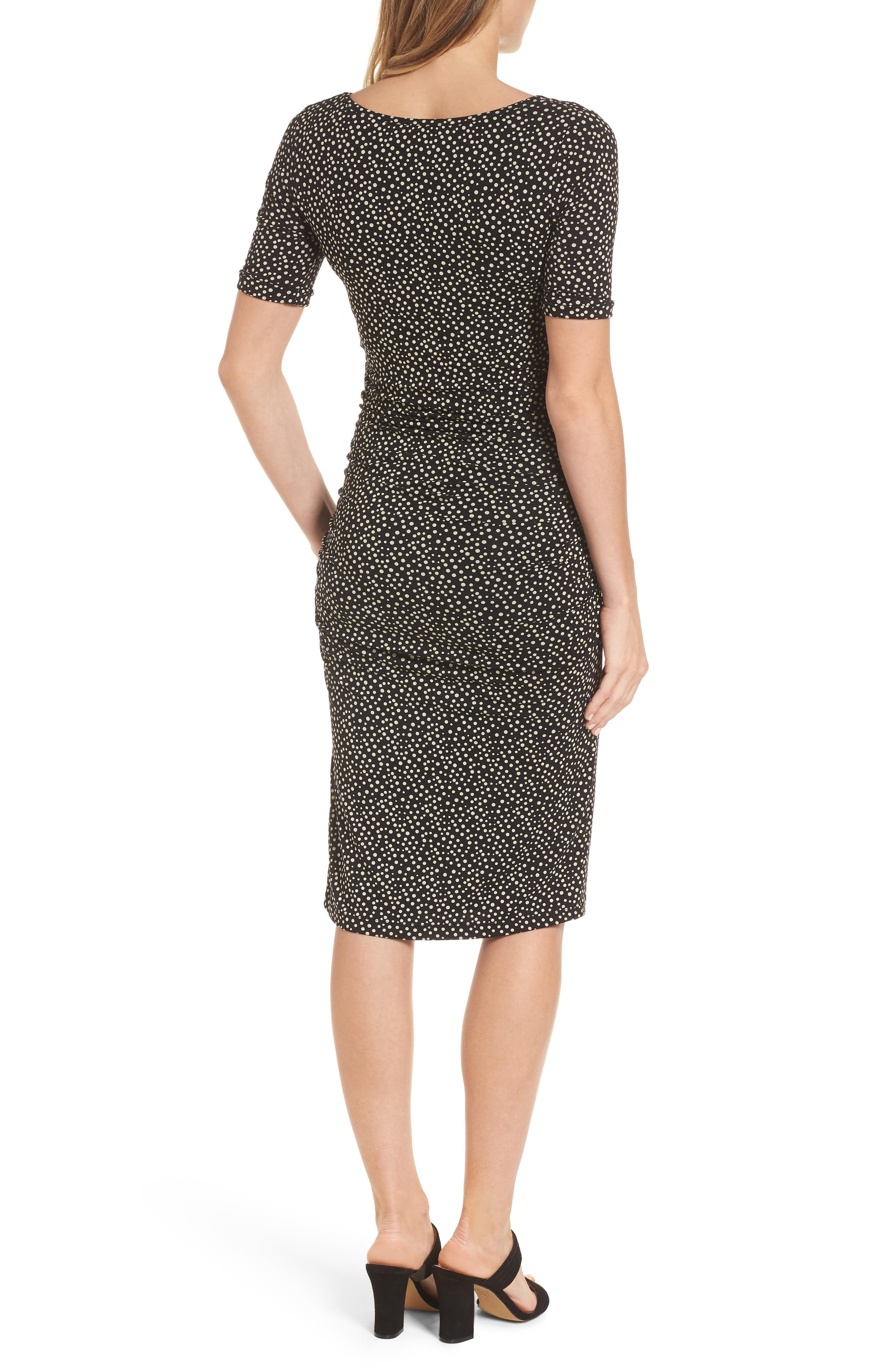 Danni Ruched Maternity Dress,                             Alternate thumbnail 2, color,                             POLKA PRINT