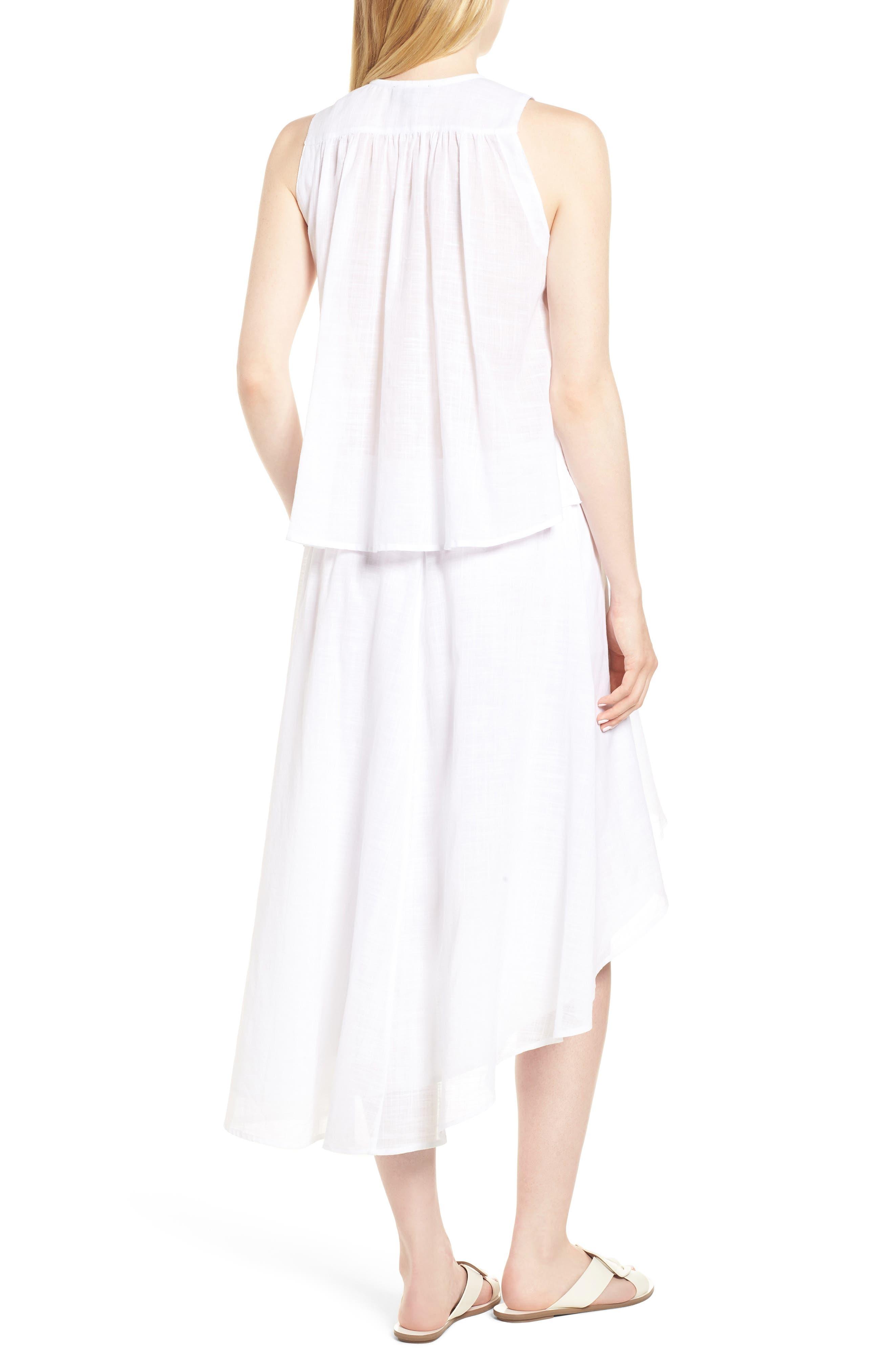 Crochet Trim High/Low Dress,                             Alternate thumbnail 2, color,                             WHITE
