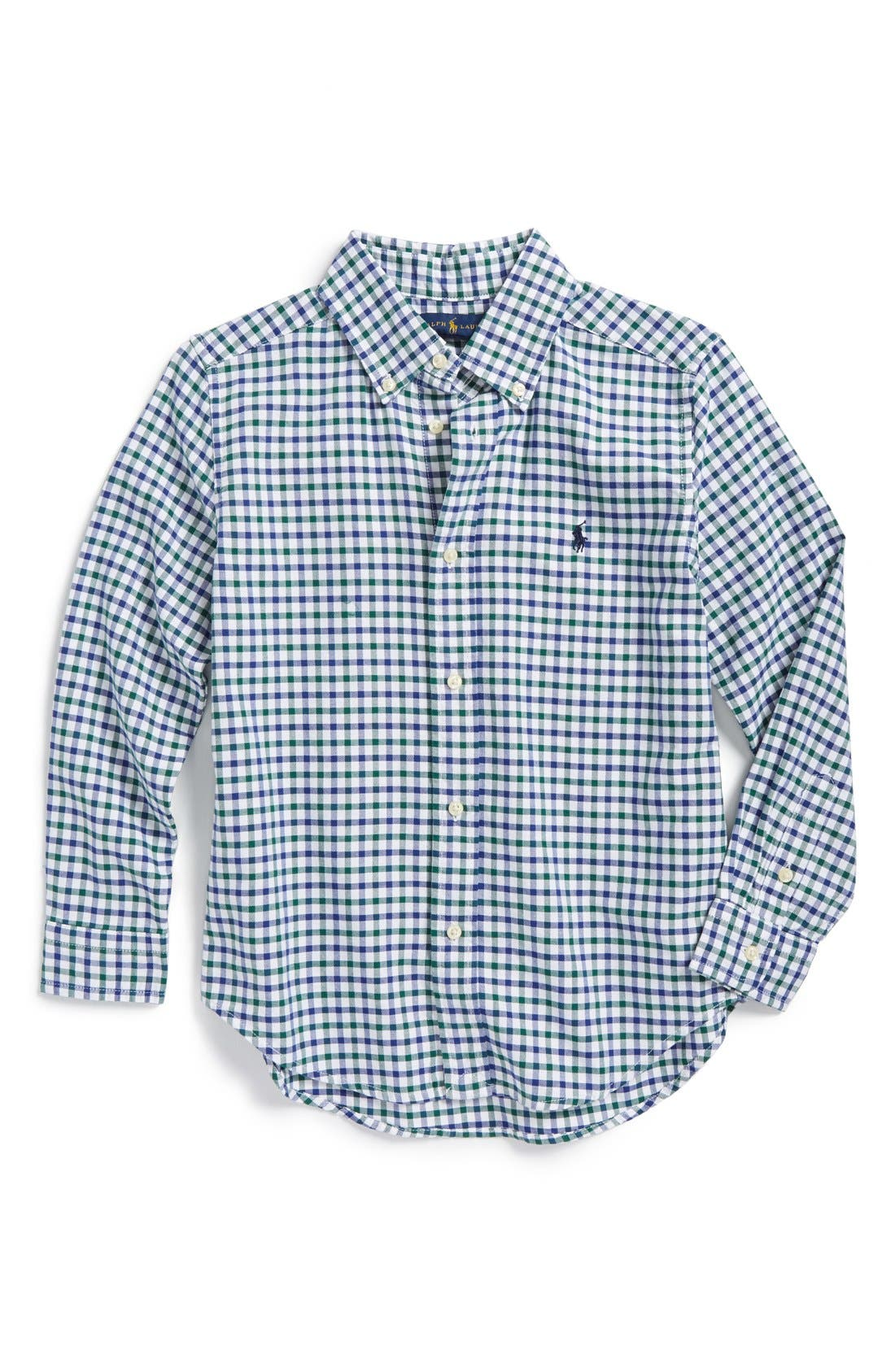 RALPH LAUREN,                             'Blake' Gingham Oxford Shirt,                             Main thumbnail 1, color,                             350