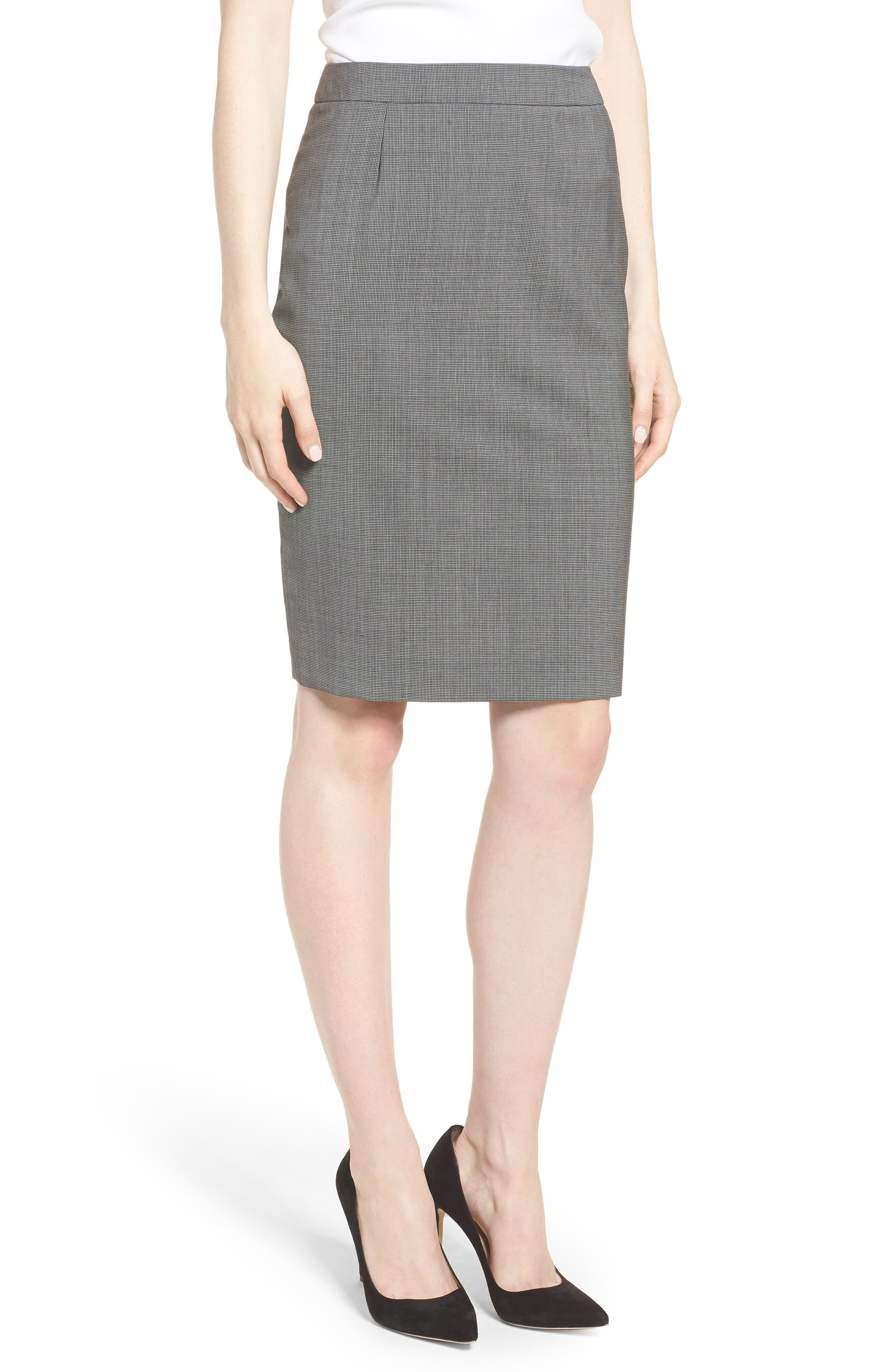 Vimena Mini Houndstooth Stretch Wool Pencil Skirt,                             Main thumbnail 1, color,                             060