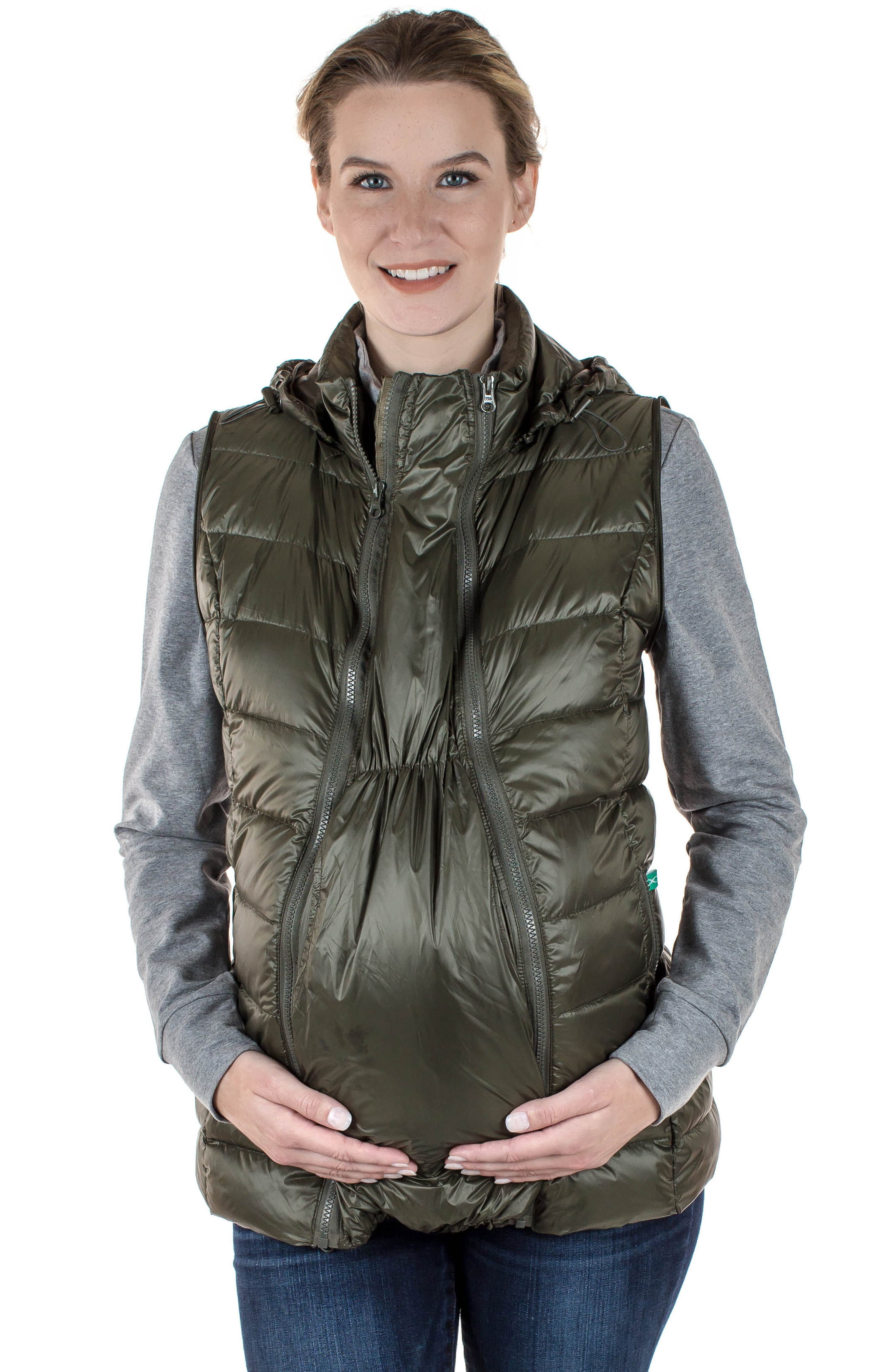 Lightweight Puffer Convertible 3-in-1 Maternity Jacket,                             Alternate thumbnail 10, color,                             KHAKI GREEN